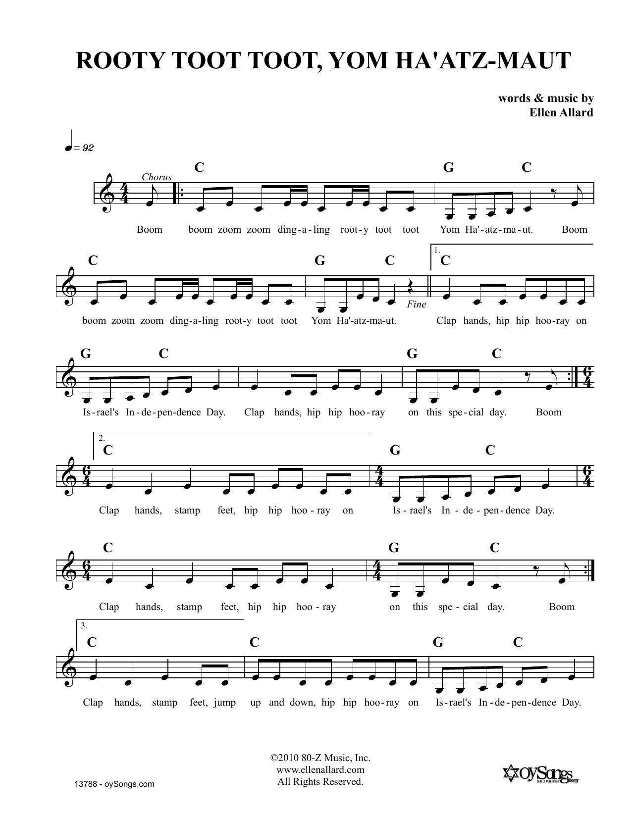 Rooty Toot Toot Yom Haatzmaut Sheet Music