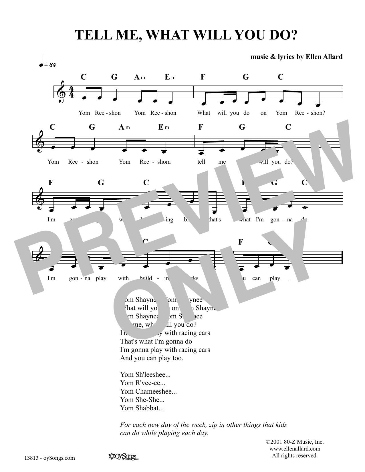 Tell Me What Will You Do (Lead Sheet / Fake Book)
