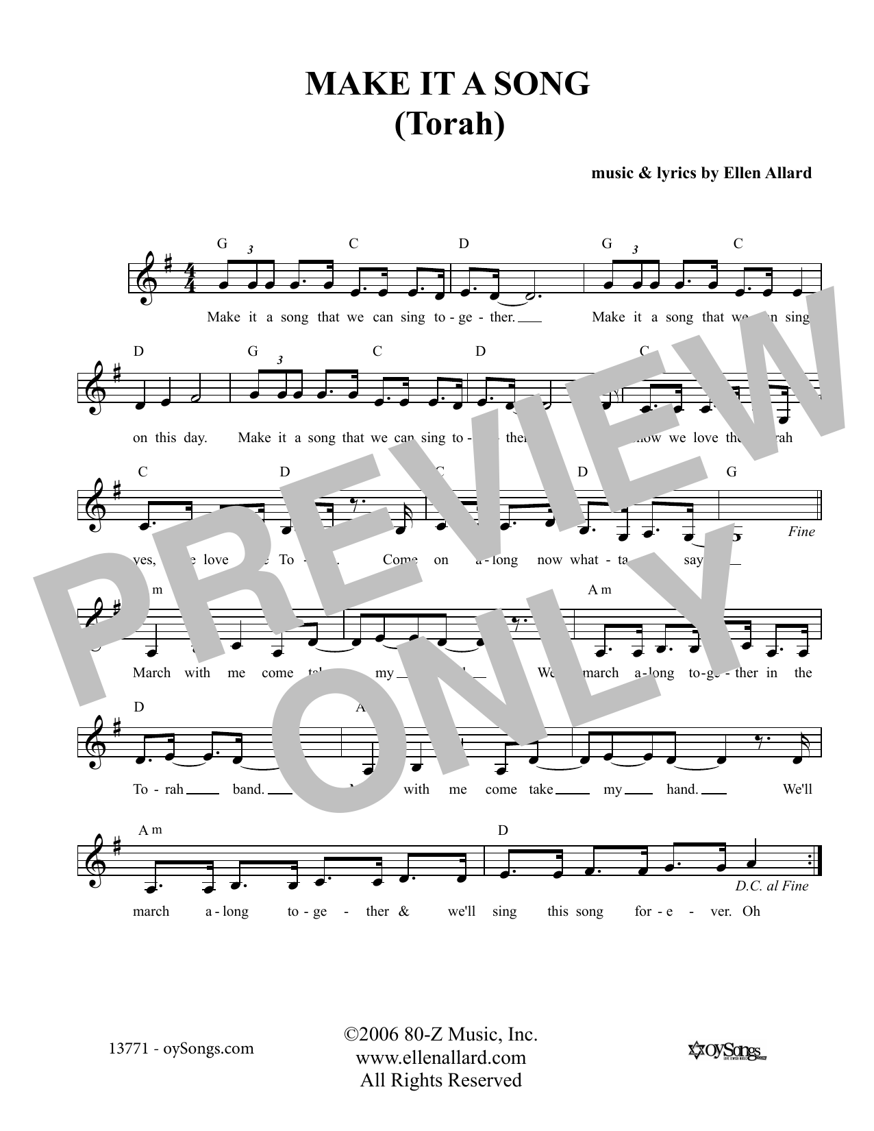 Make It A Song Torah (Lead Sheet / Fake Book)