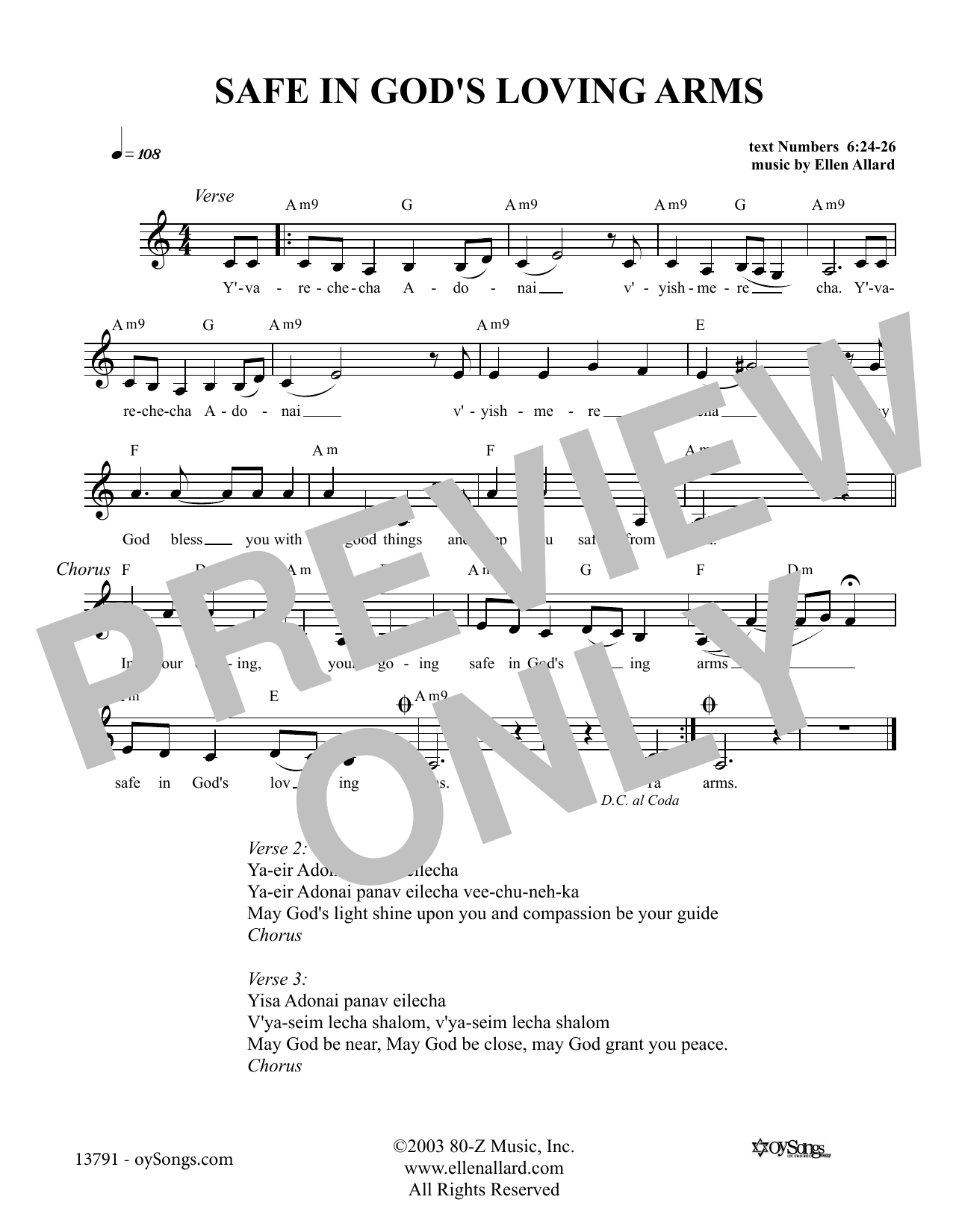 Safe In God's Loving Arms (Lead Sheet / Fake Book)