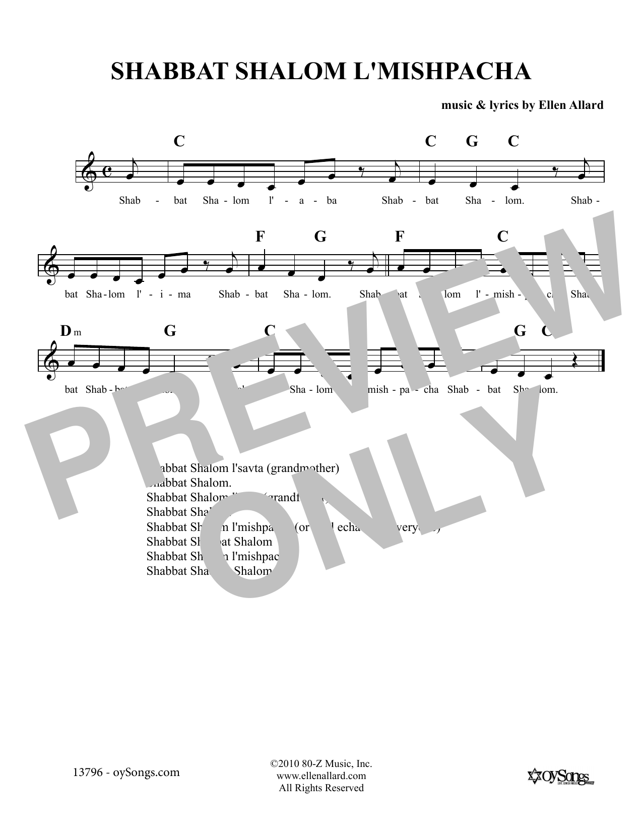 Shabbat Shalom L'Mishpacha (Lead Sheet / Fake Book)