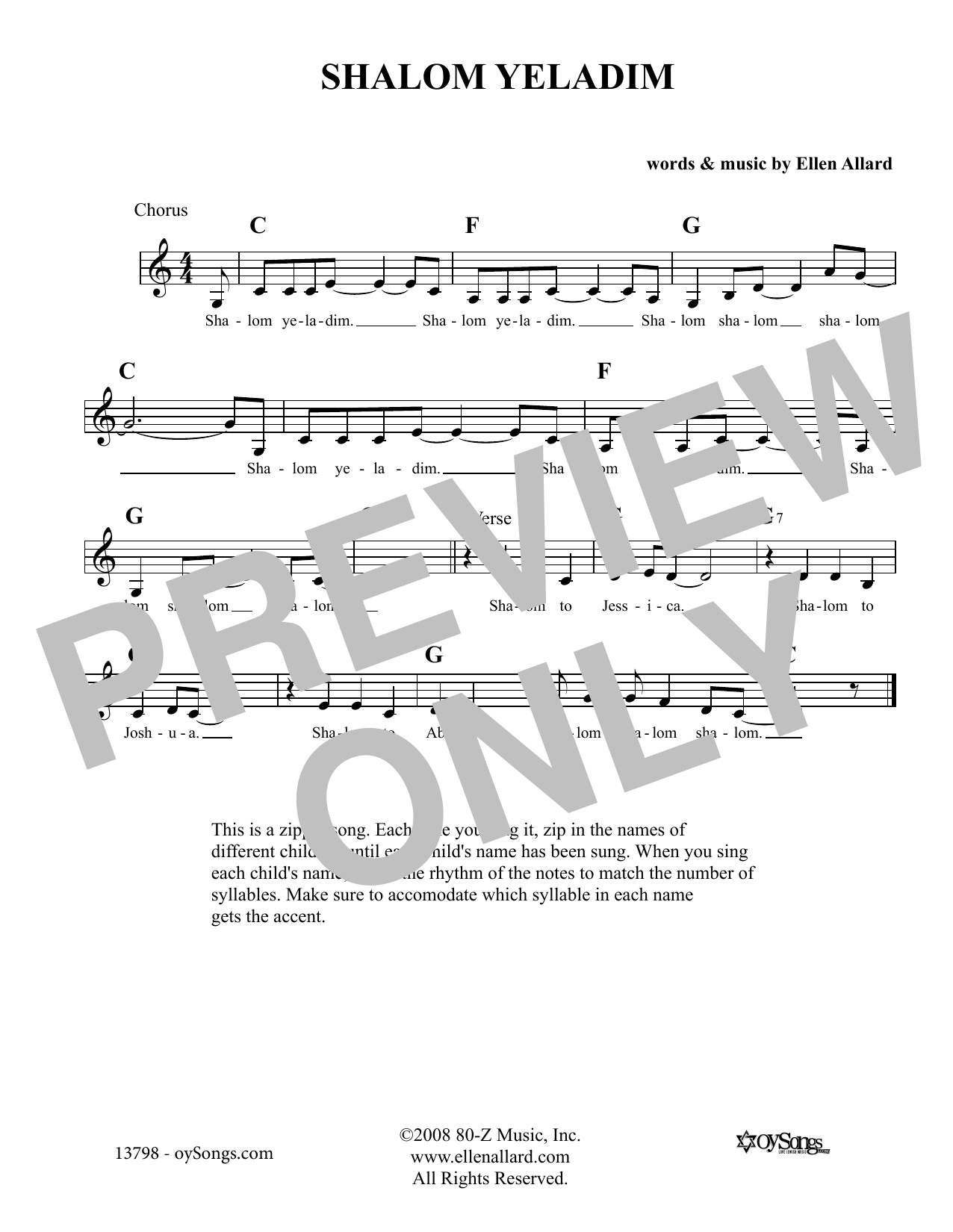 Shalom Yeladim (Lead Sheet / Fake Book)