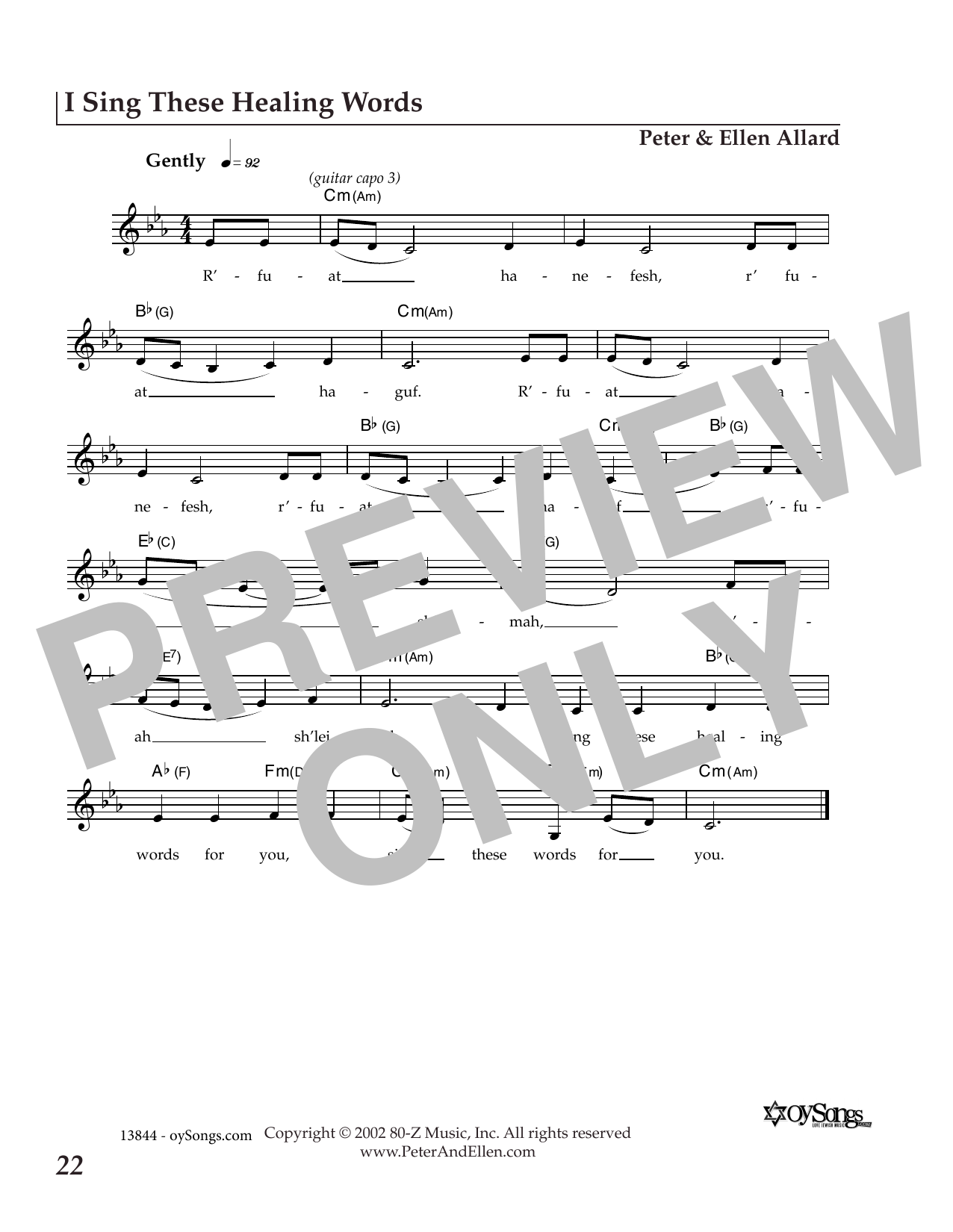 I Sing These Healing Words (Lead Sheet / Fake Book)