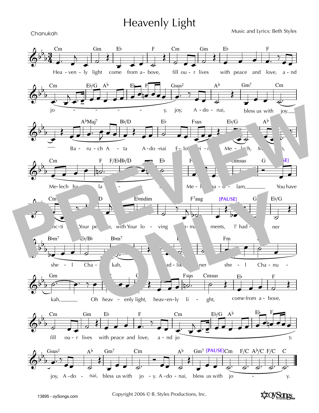 Heavenly Light (Chanukah) (Lead Sheet / Fake Book)