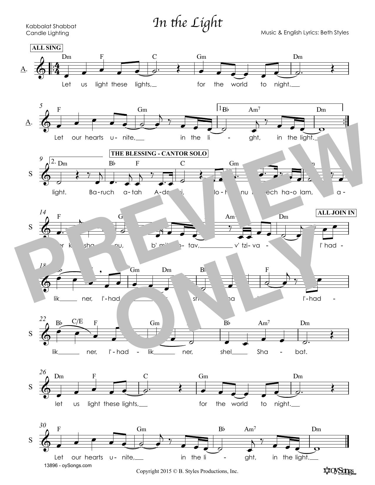In the Light (Melody Line, Lyrics & Chords)