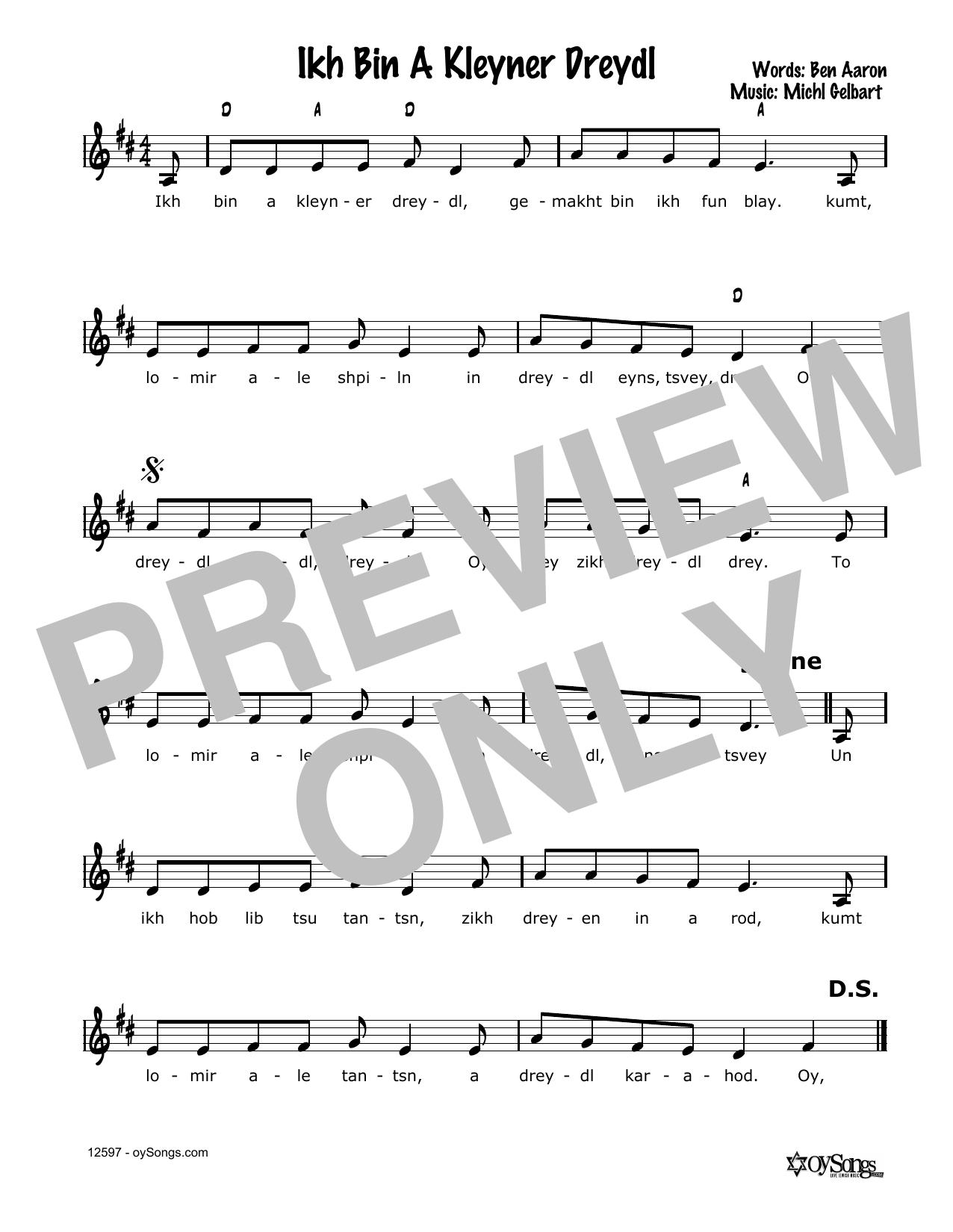 Ikh Bin A Kleyner Dreydl Sheet Music