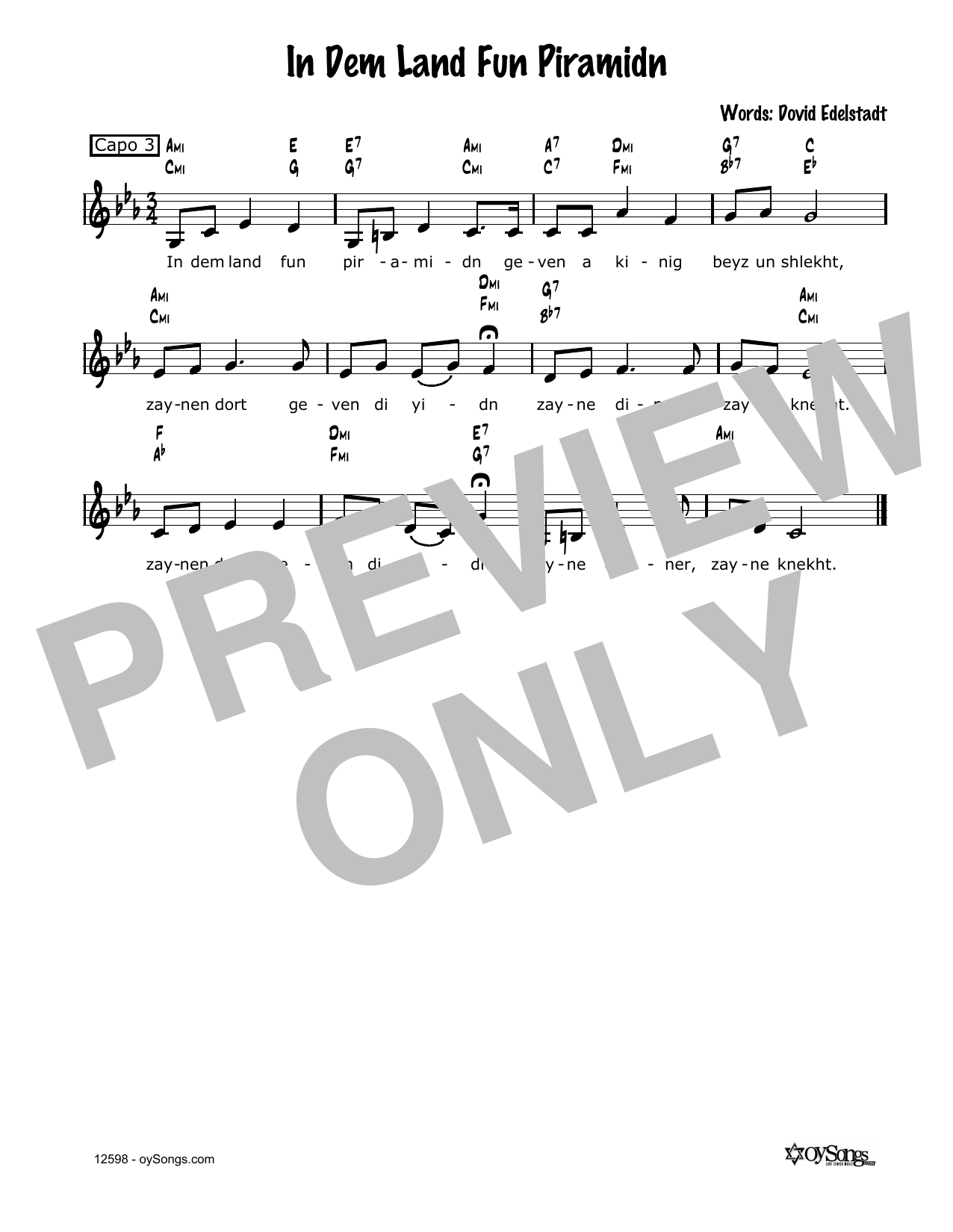 In Dem Land Fun Piramidn Sheet Music