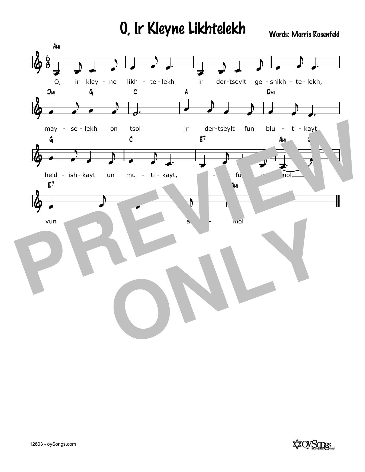 O, Ir Kleine Lichtelech Sheet Music