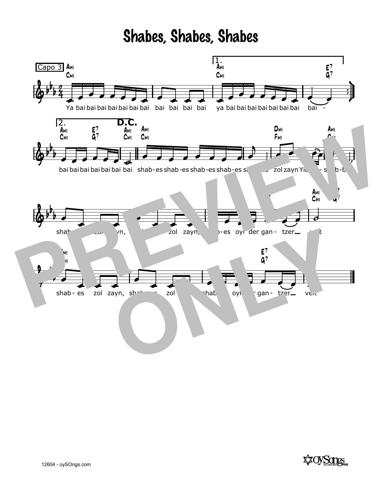 Shabbos Yid'n Zol Zain Sheet Music