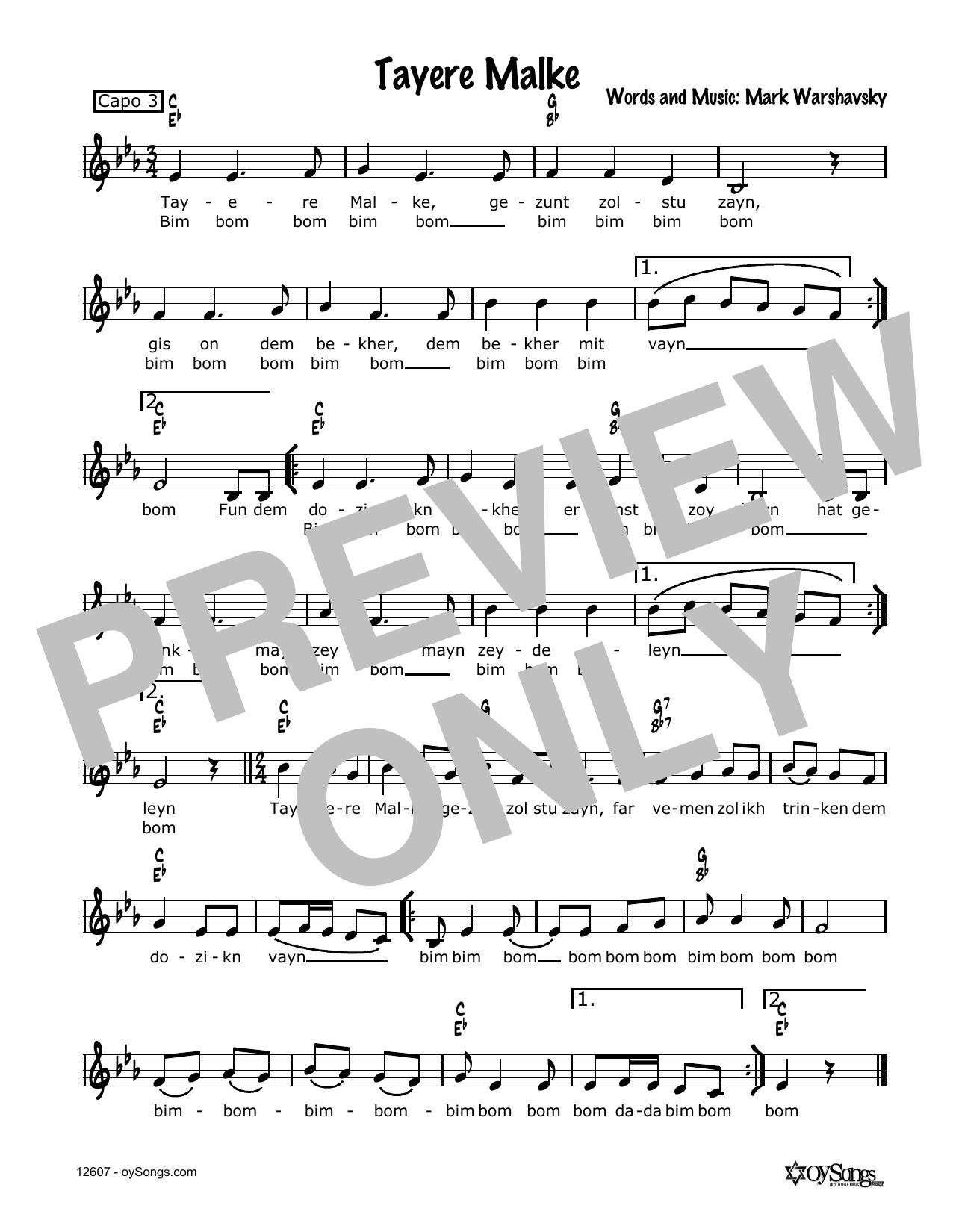 Tayere Malke Sheet Music