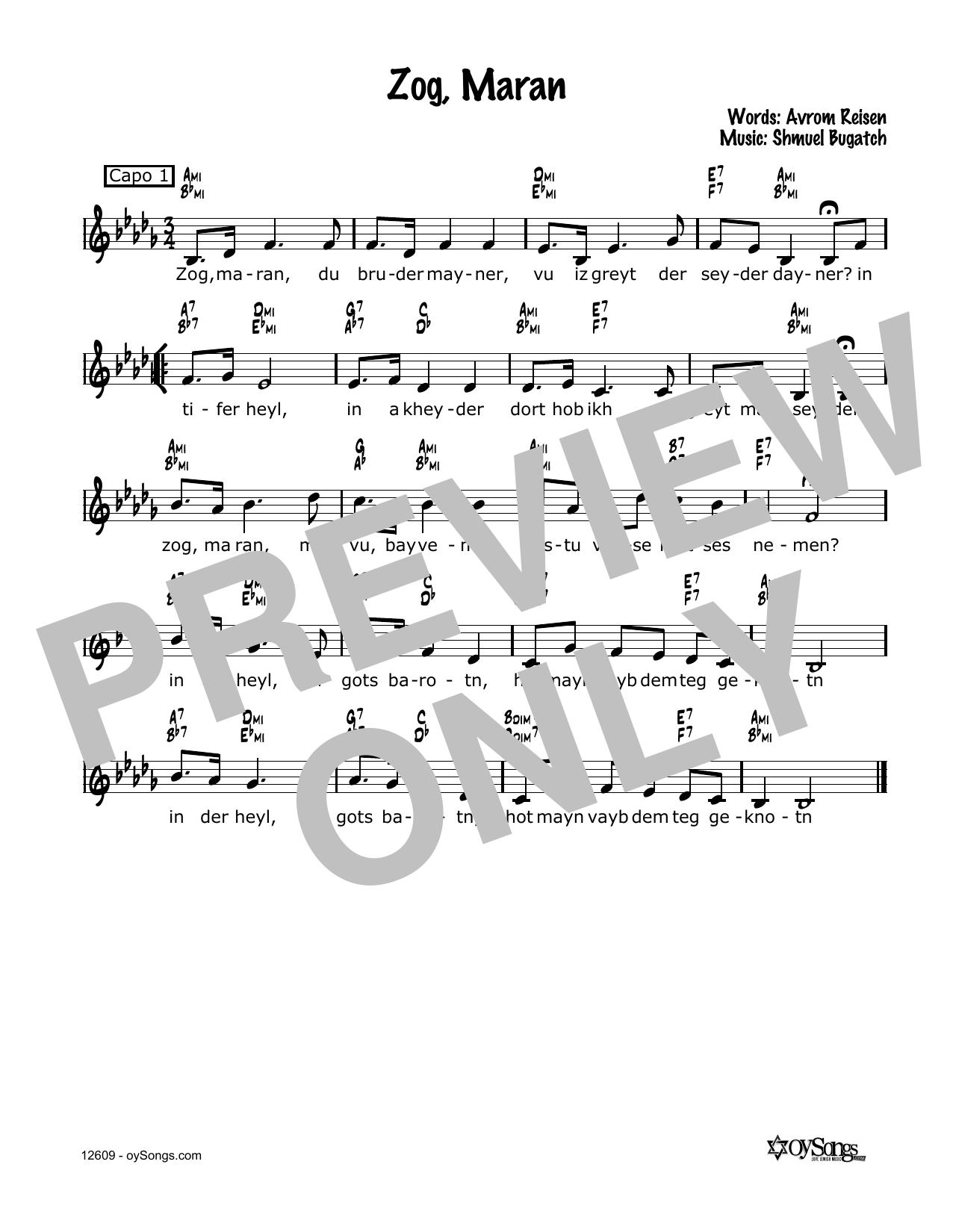 Zog, Maran Sheet Music