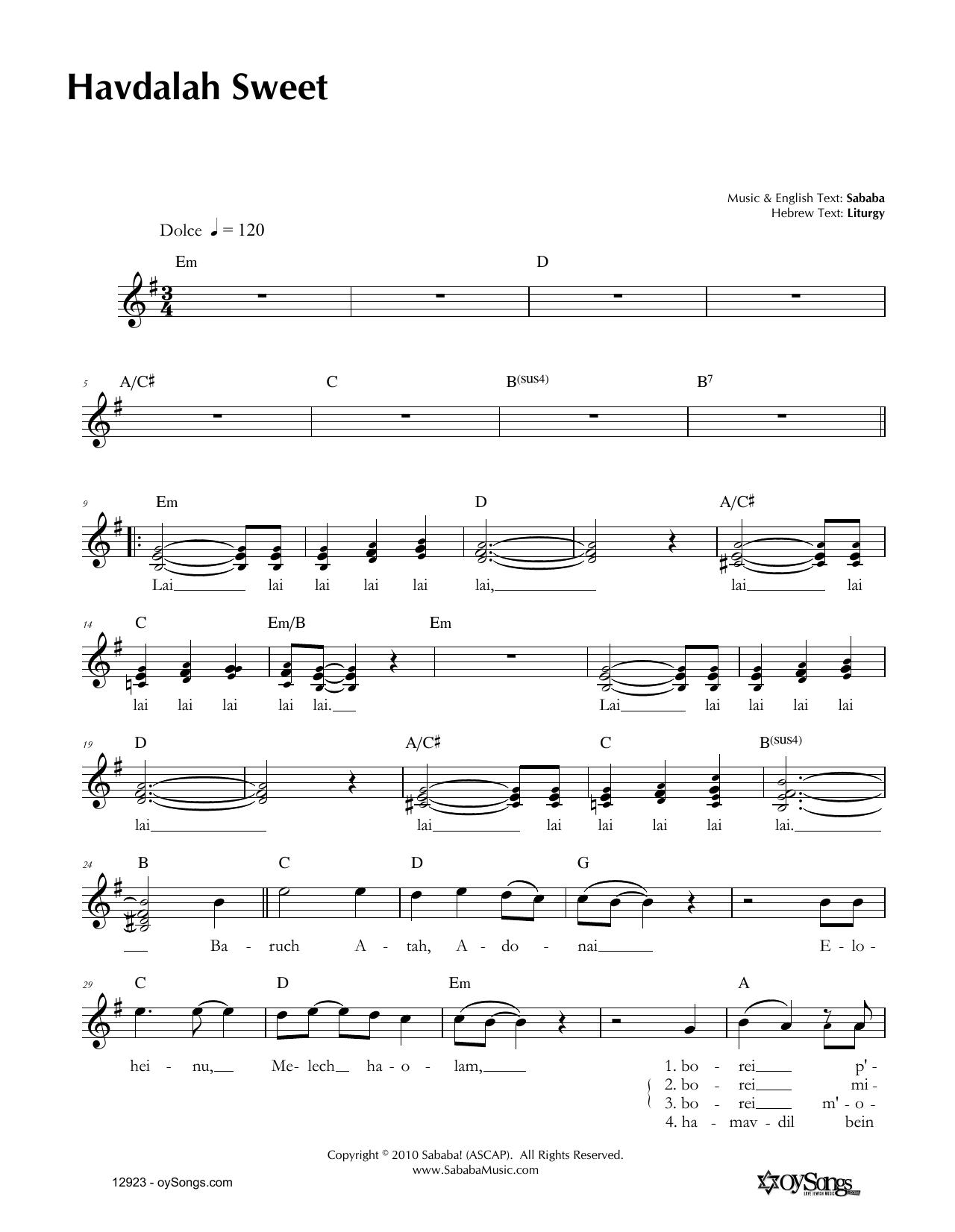 Havdalah Sweet Sheet Music
