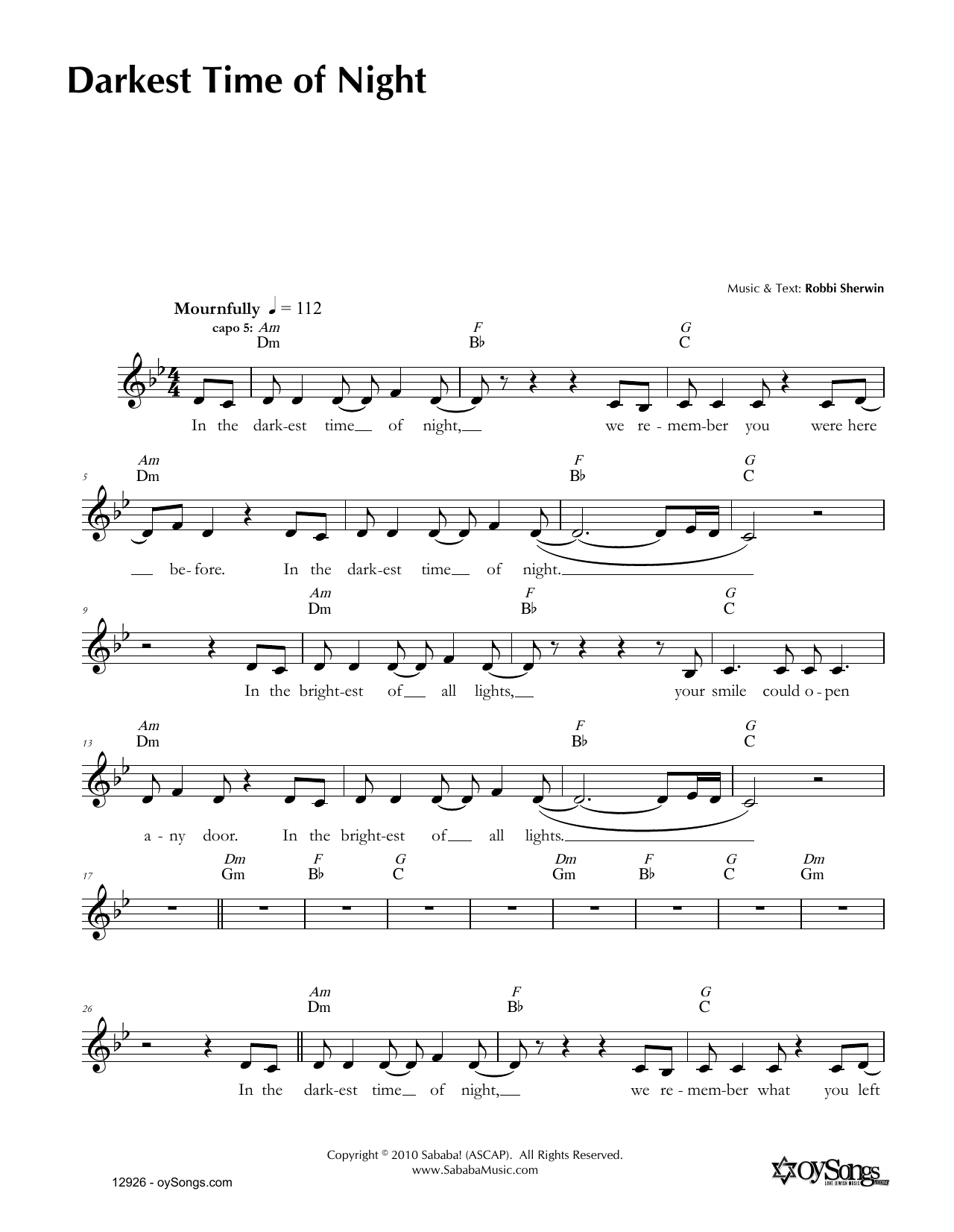 Darkest Time of Night (Lead Sheet / Fake Book)
