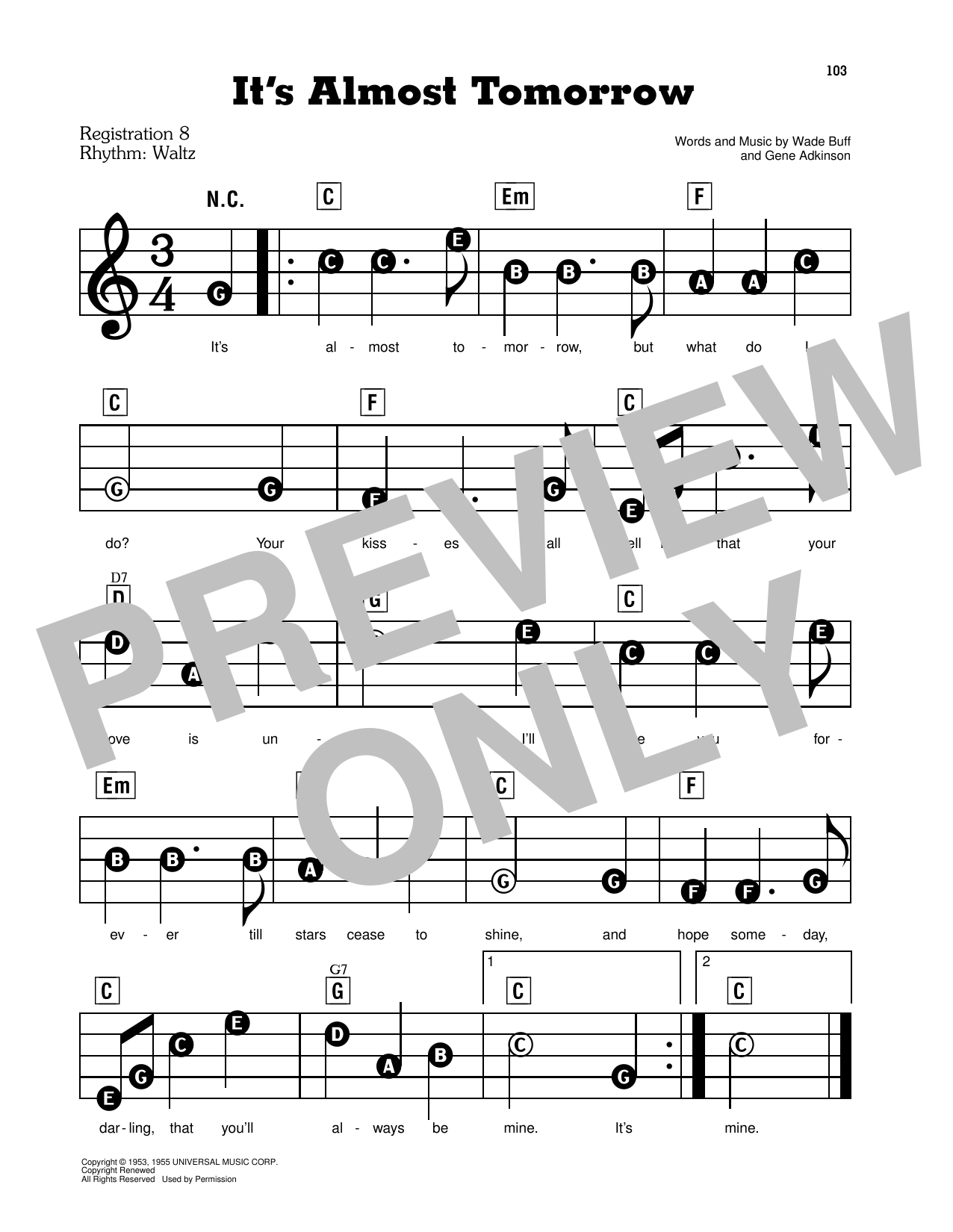 It's Almost Tomorrow Sheet Music