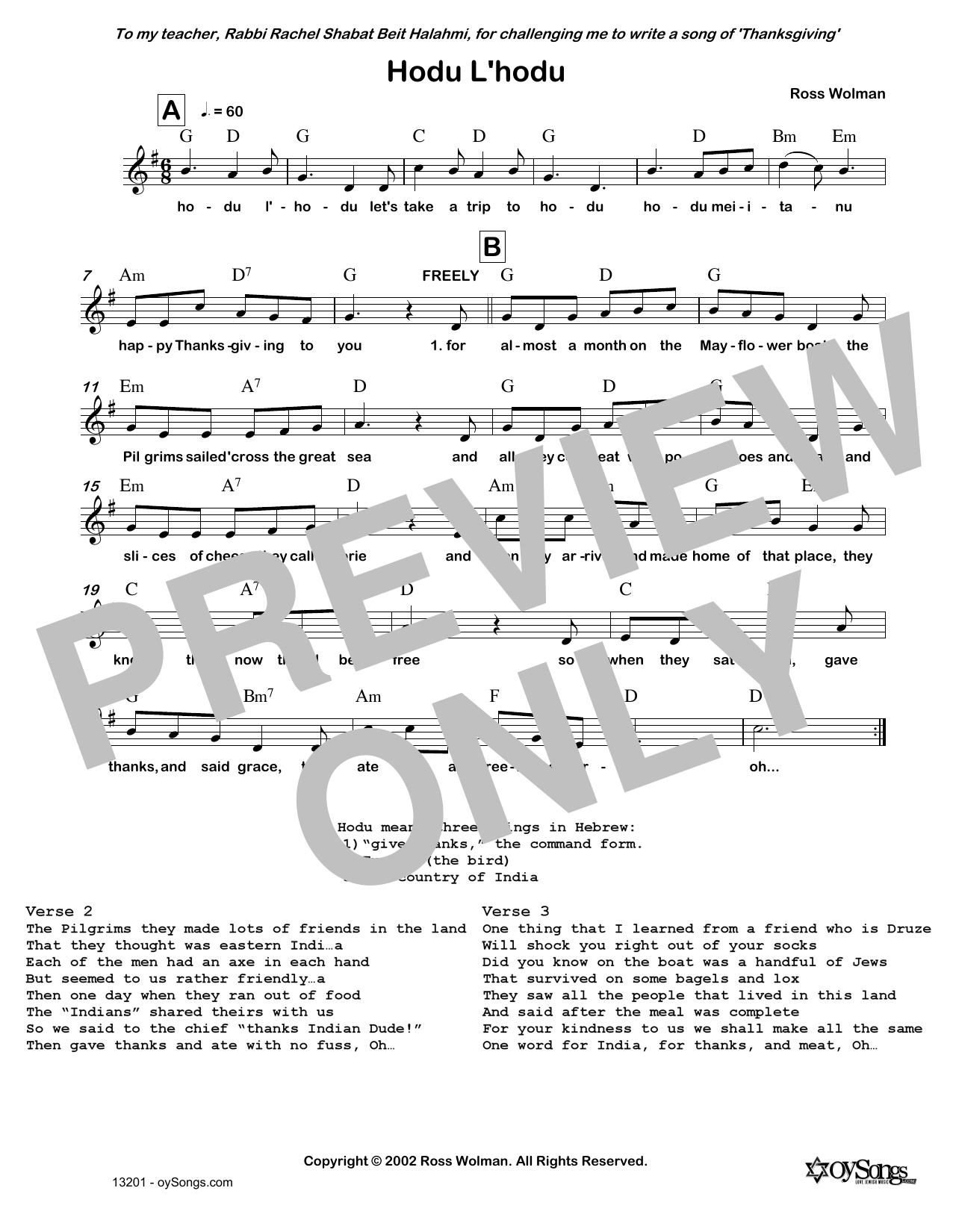 Hodu L'hodu Sheet Music