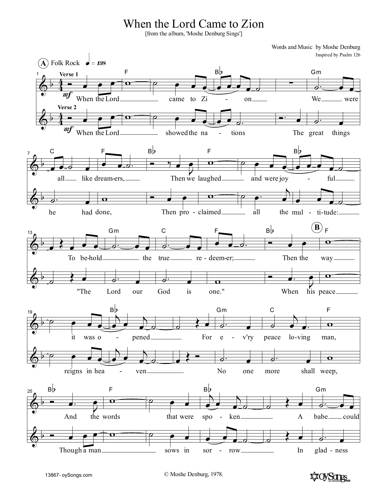 When The Lord Came To Zion (Lead Sheet / Fake Book)