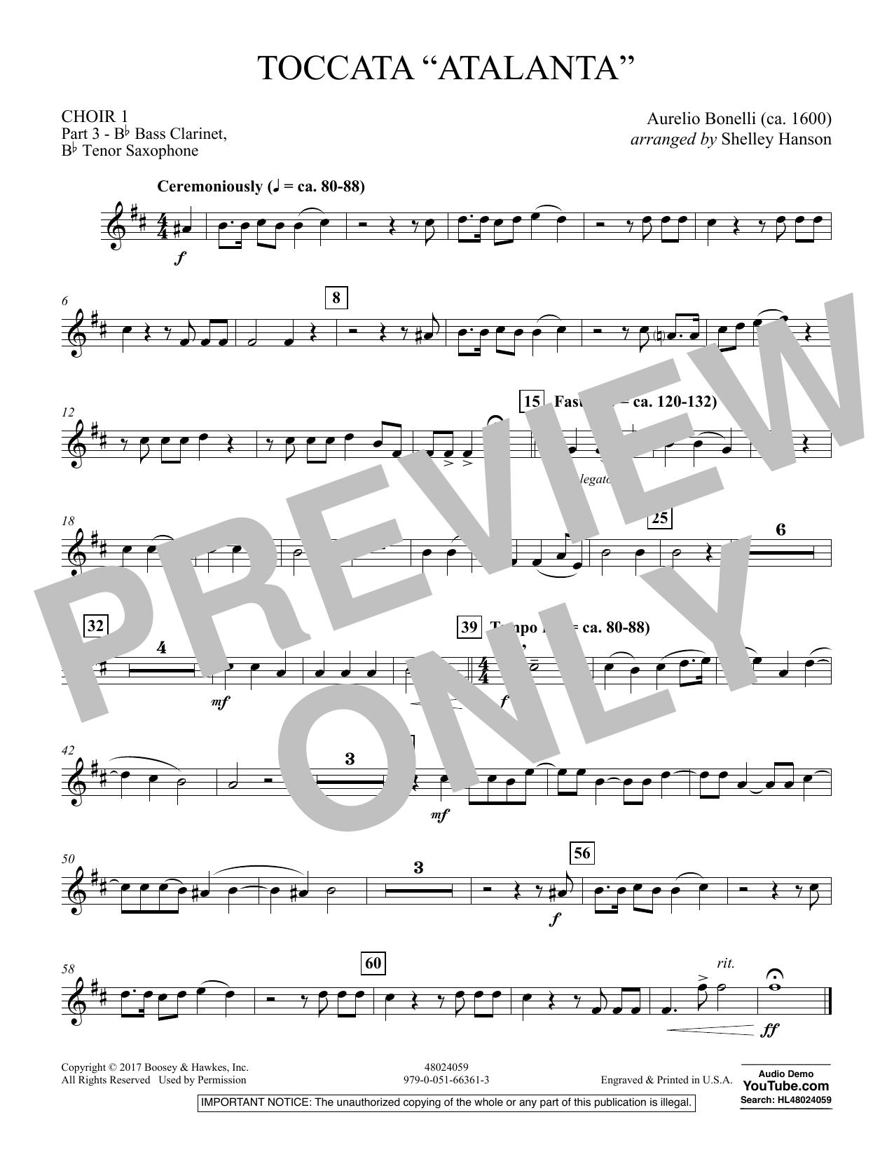 """Toccata (""""Atalanta"""") - Choir 1-Pt 3-Bass Clar, T Sax (Concert Band)"""