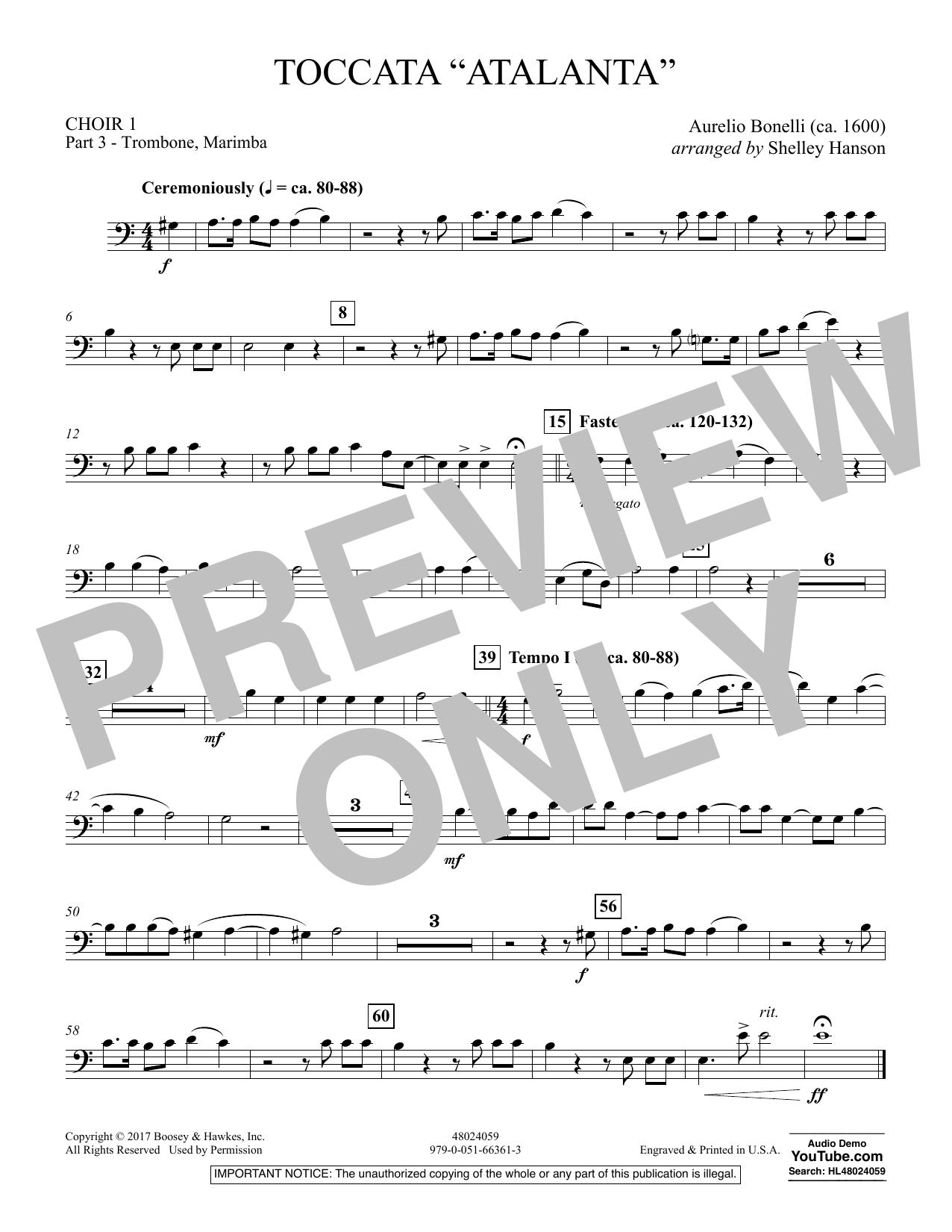 """Toccata (""""Atalanta"""") - Choir 1-Pt 3-Trombone, Marimba (Concert Band)"""