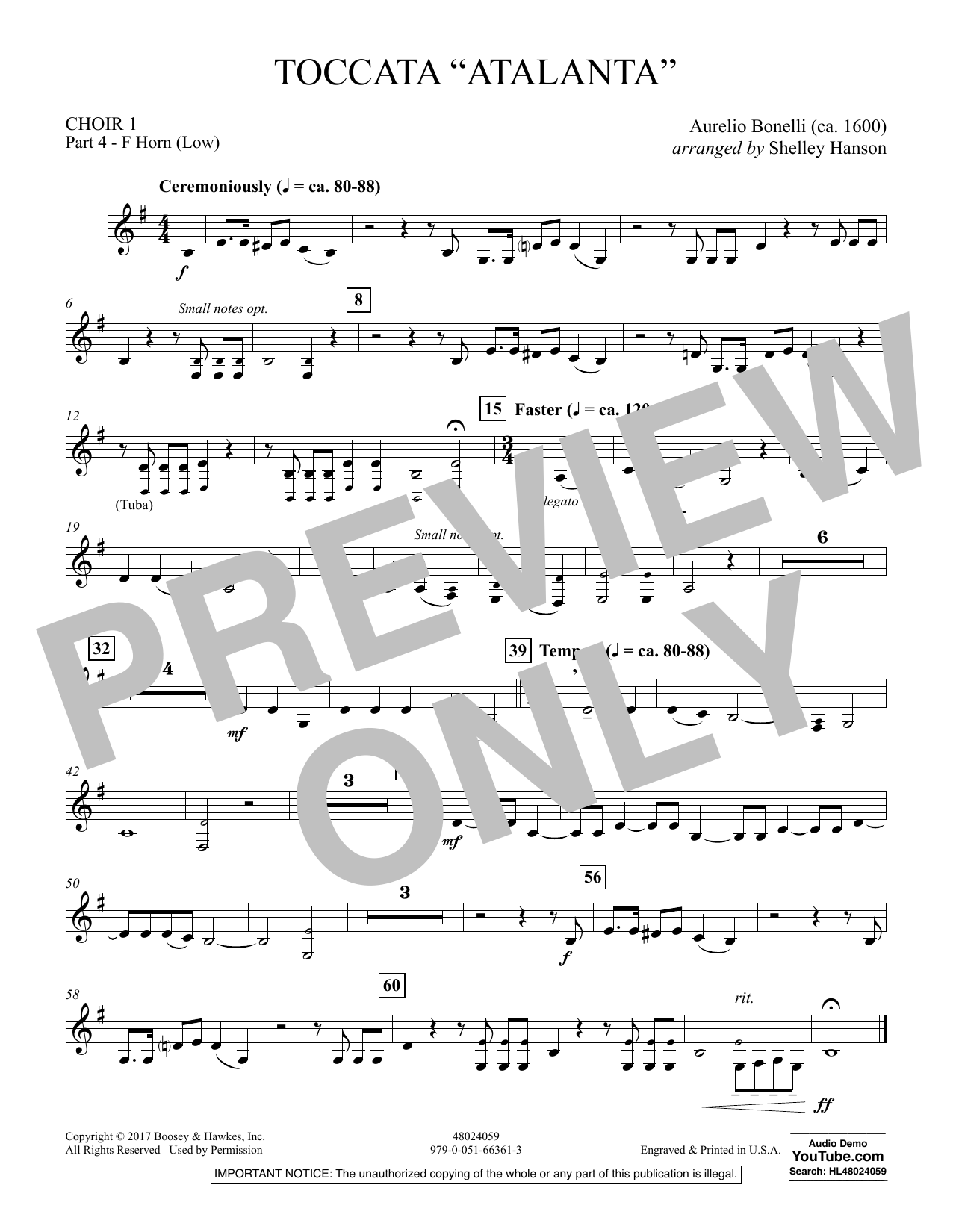 "Toccata (""Atalanta"") - Choir 1-Pt 4-F Horn (Low) (Concert Band)"