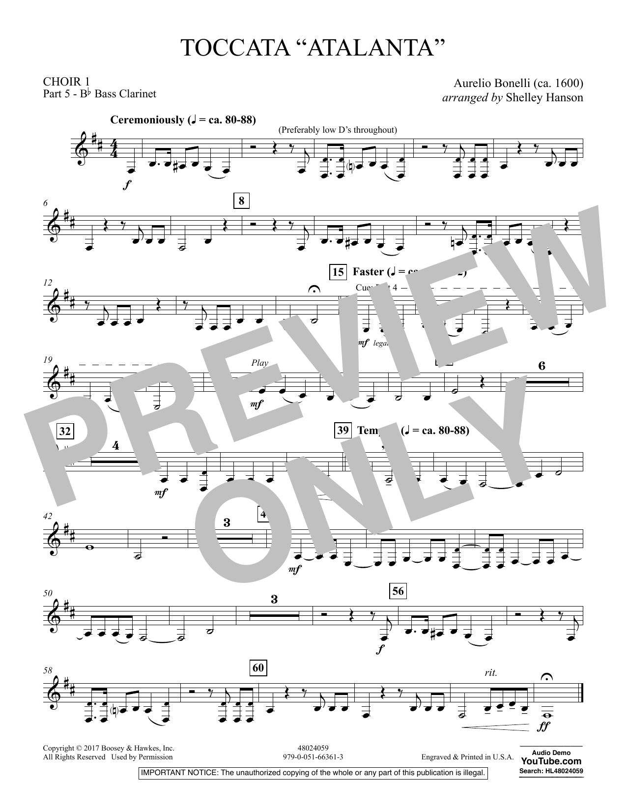 "Toccata (""Atalanta"") - Choir 1-Pt 5 Bass Clarinet (Concert Band)"