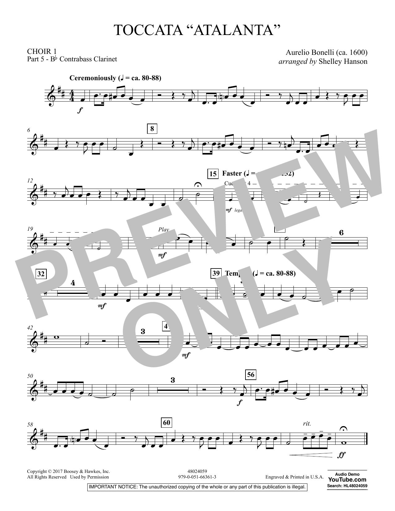 "Toccata (""Atalanta"") - Choir 1-Pt 5-Bb Contrabass Cl (Concert Band)"