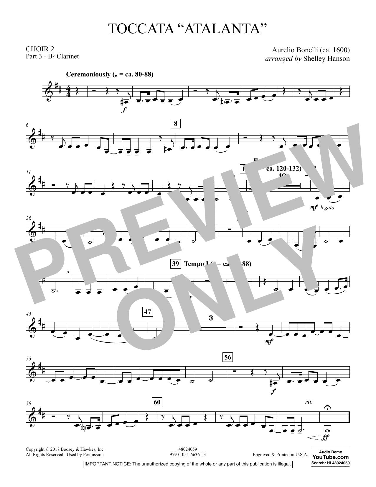 """Toccata (""""Atalanta"""") - Choir 2-Pt 3-Bb Clarinet (Concert Band)"""