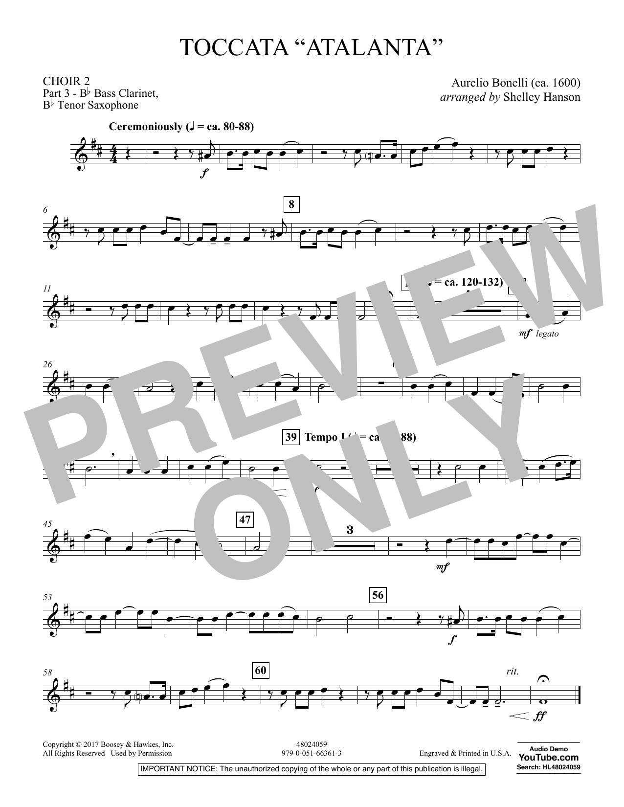 """Toccata (""""Atalanta"""") - Choir 2-Pt 3-Bass Clar, T Sax (Concert Band)"""