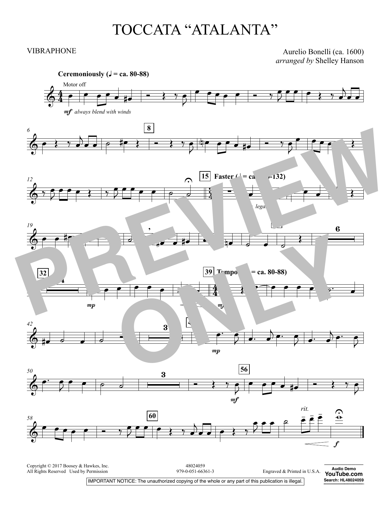 """Toccata (""""Atalanta"""") - Vibraphone (Concert Band)"""