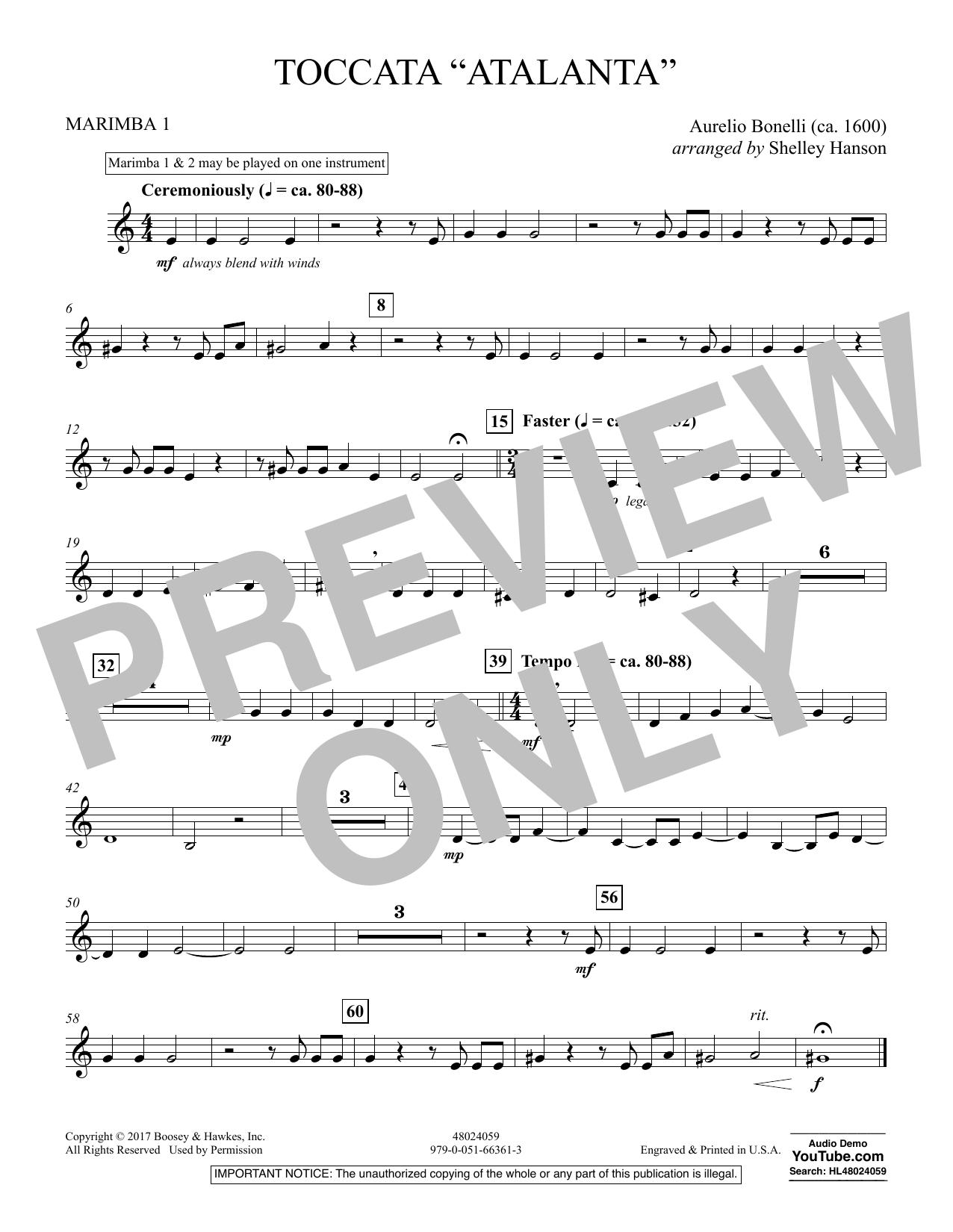 """Toccata (""""Atalanta"""") - Marimba 1 (Concert Band)"""