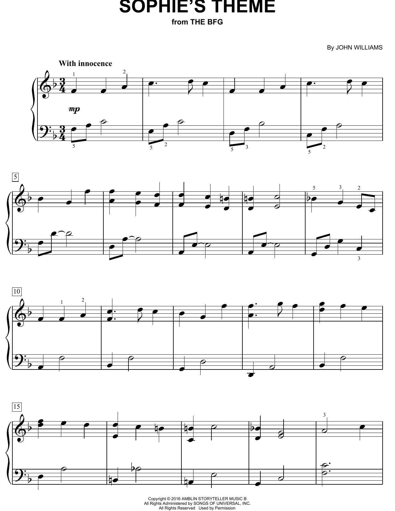 Sophie's Theme (Easy Piano)
