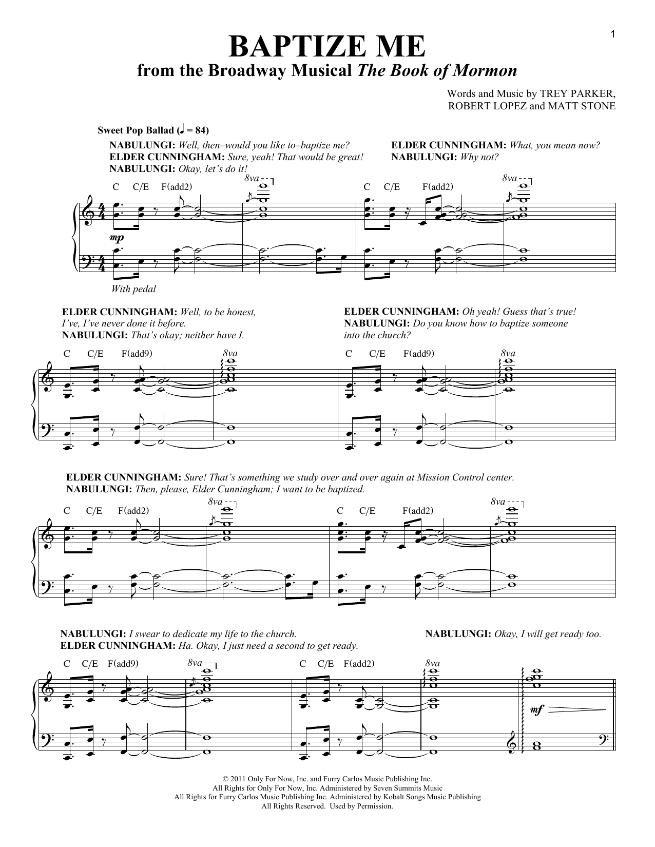 Baptize Me (from The Book of Mormon) (Piano & Vocal)