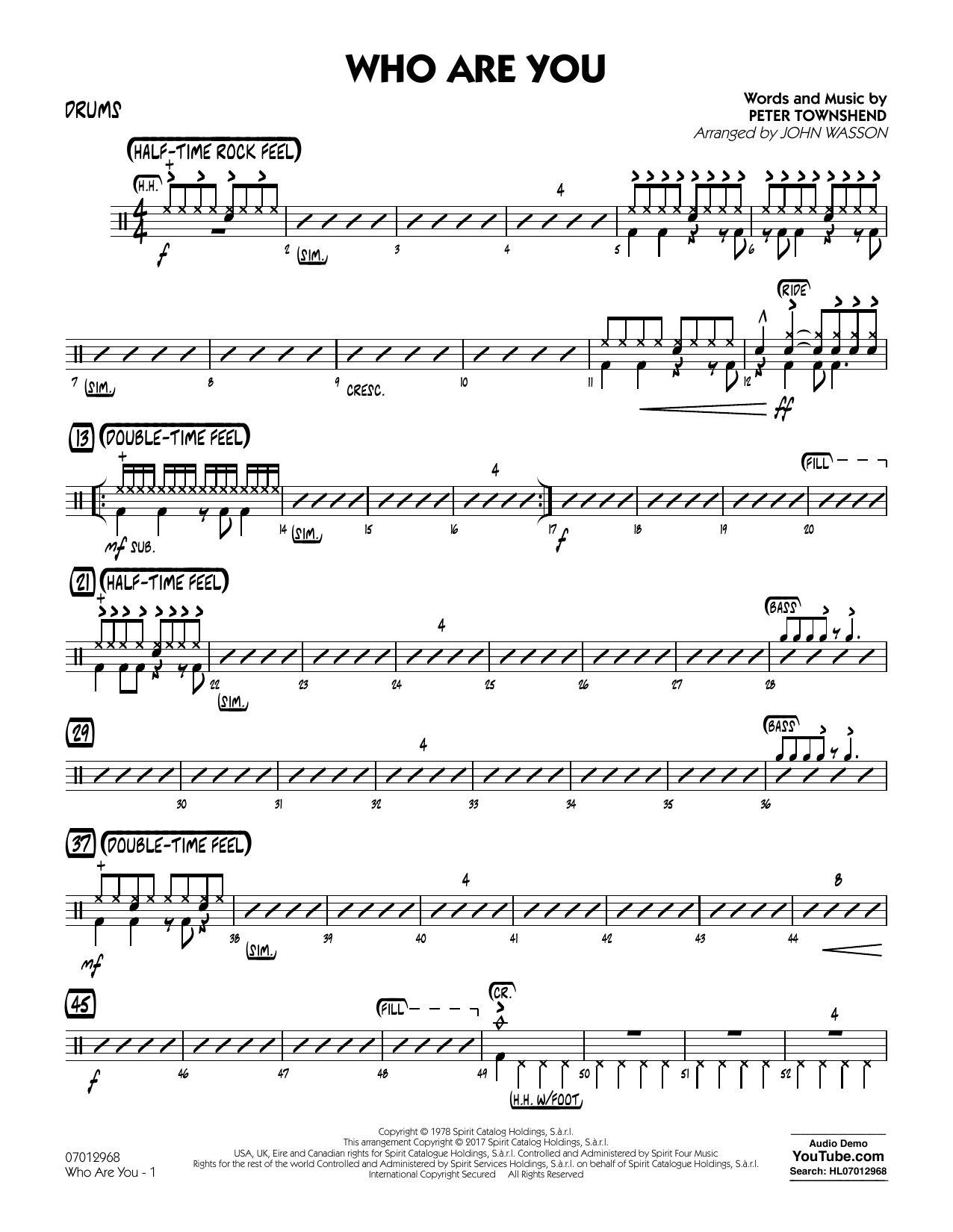 Who Are You - Drums (Jazz Ensemble)