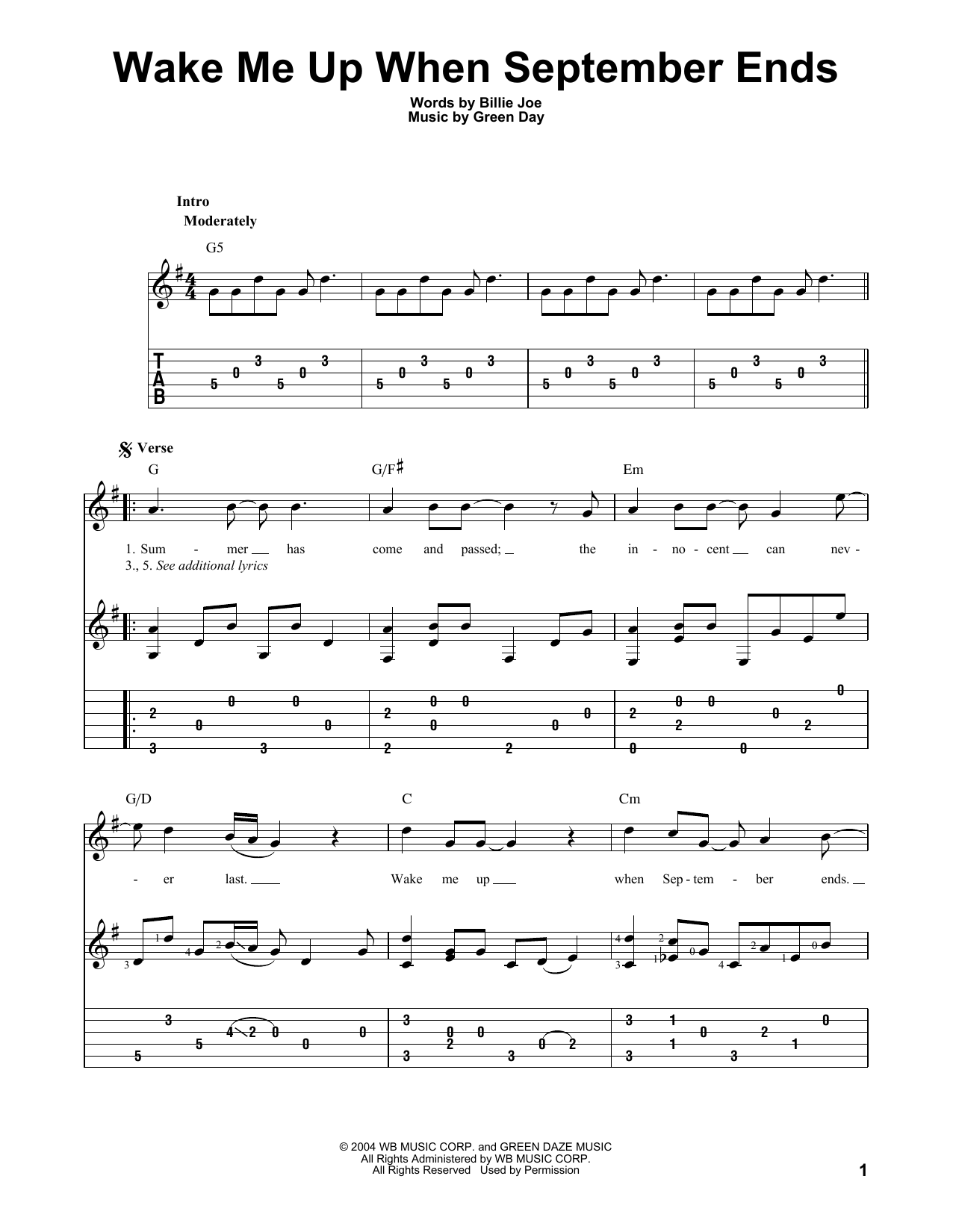 Wake Me Up When September Ends (Guitar Tab)