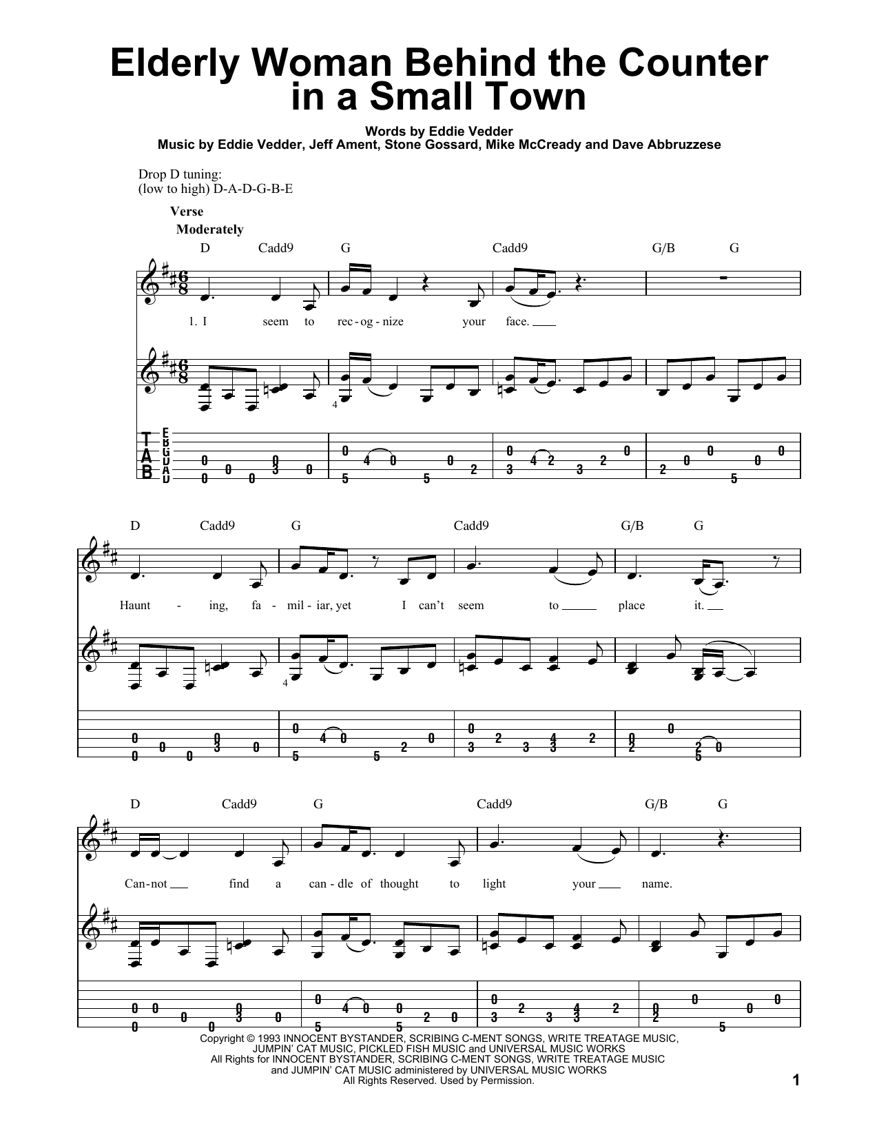 Elderly Woman Behind The Counter In A Small Town (Guitar Tab)