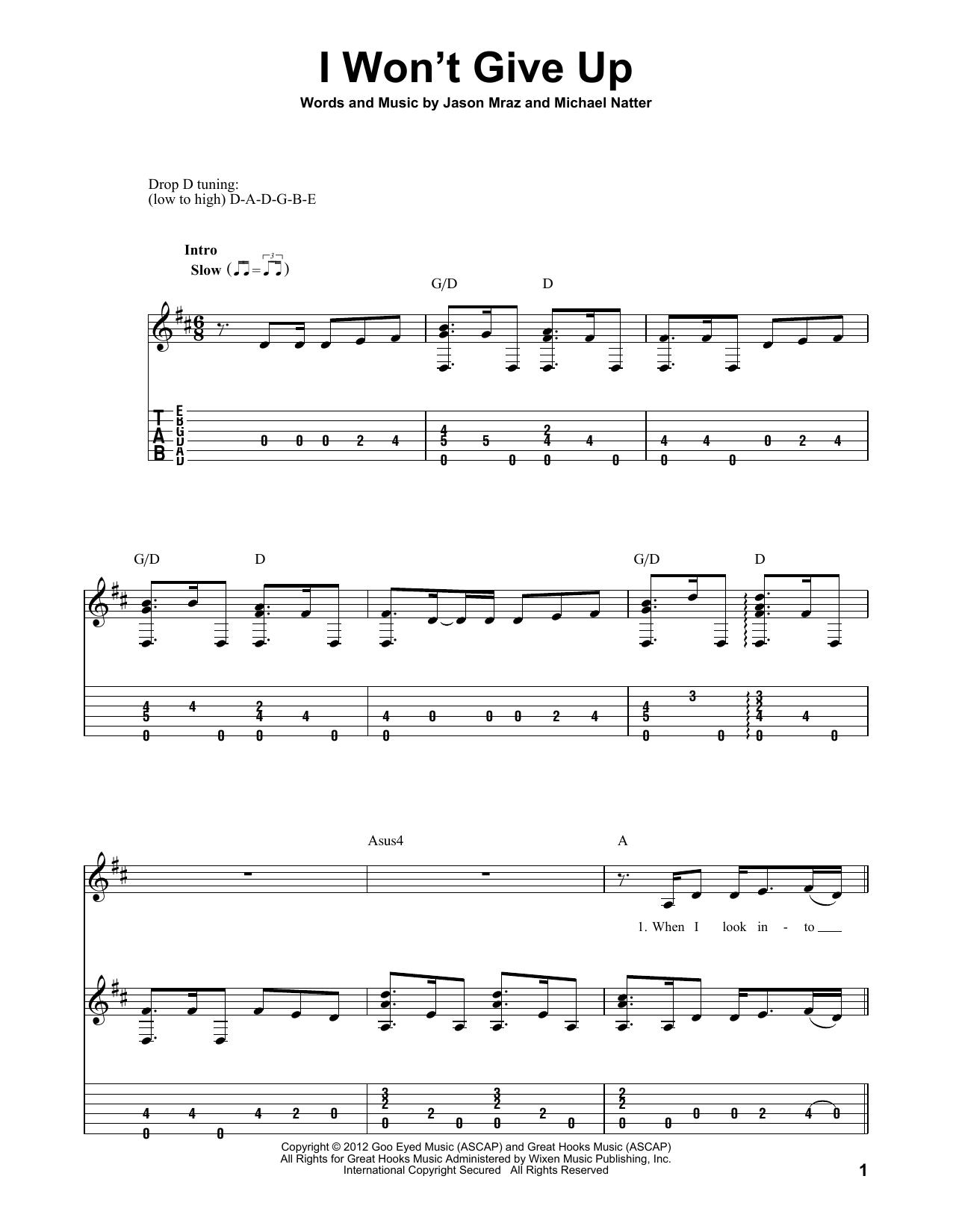 I Won't Give Up (Guitar Tab)