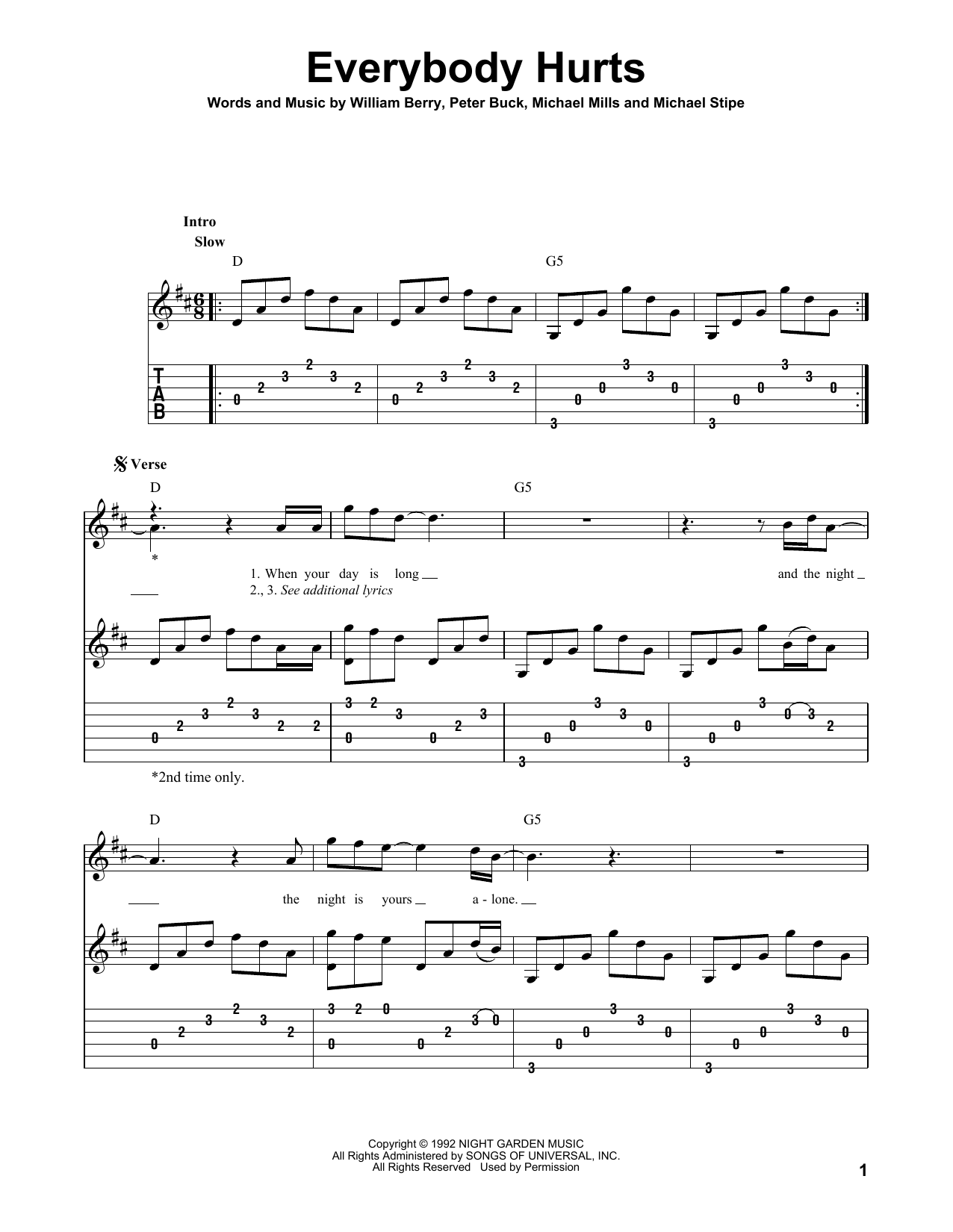 Everybody Hurts (Solo Guitar Tab)