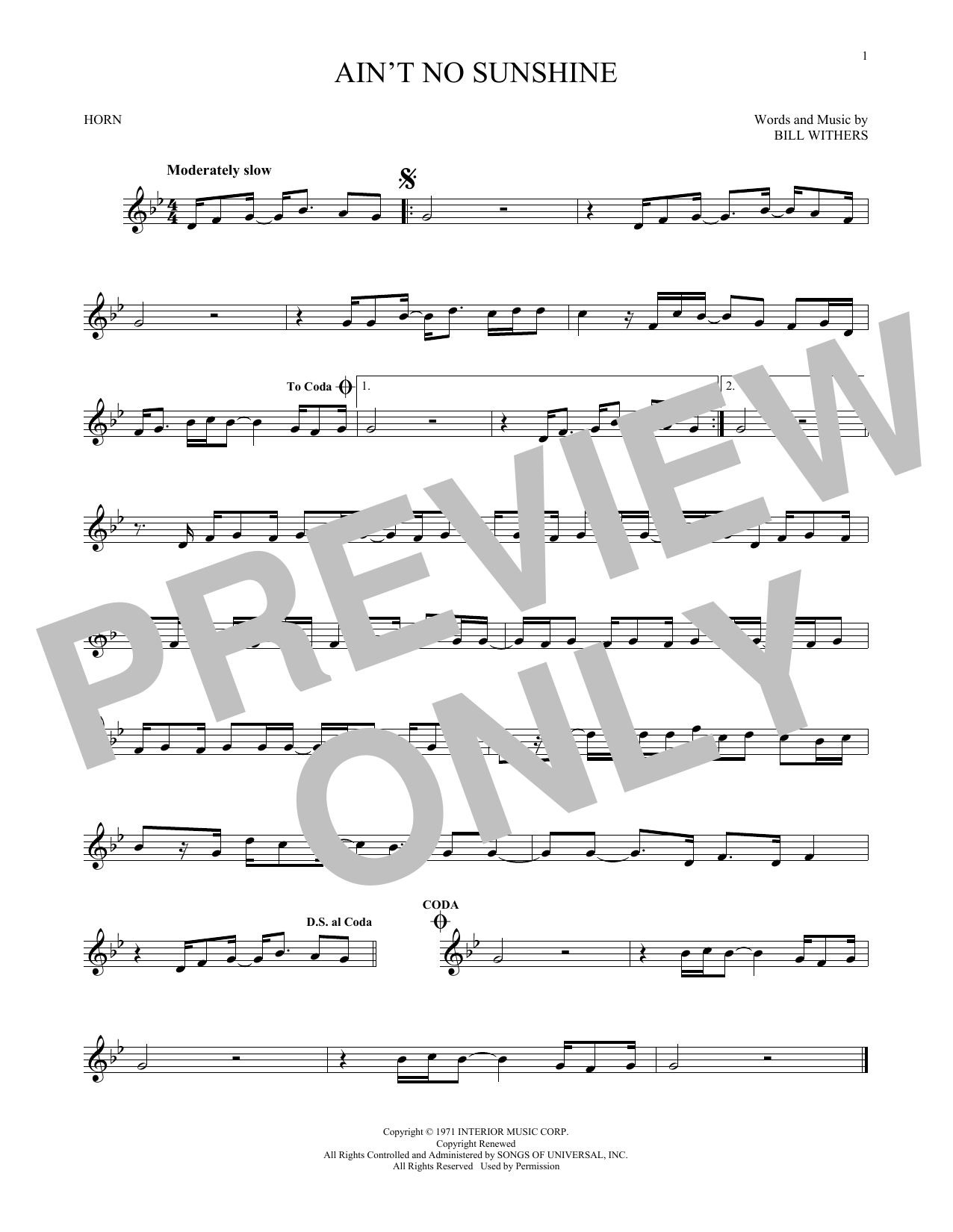 Ain't No Sunshine (French Horn Solo)