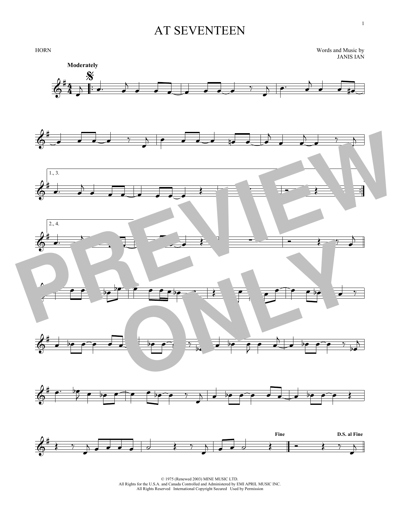 At Seventeen (French Horn Solo)