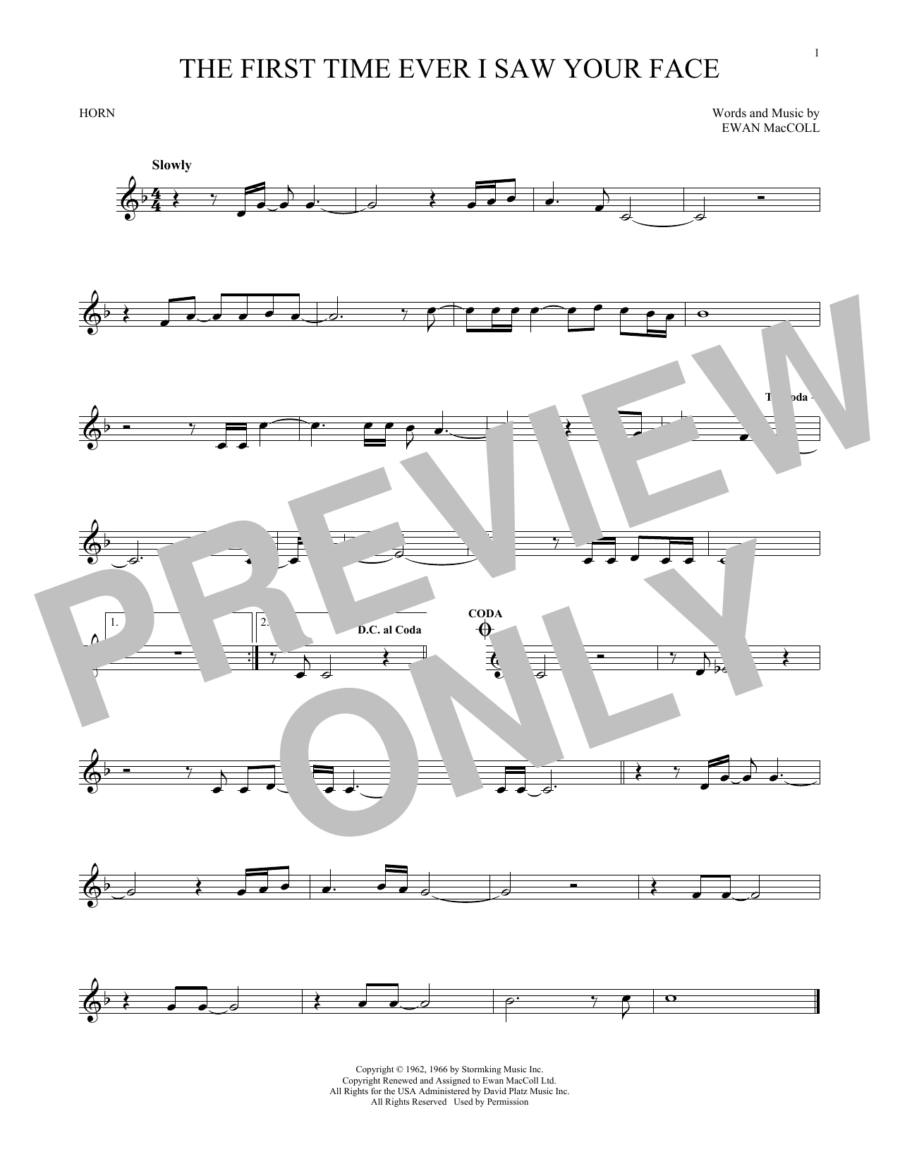 The First Time Ever I Saw Your Face (French Horn Solo)