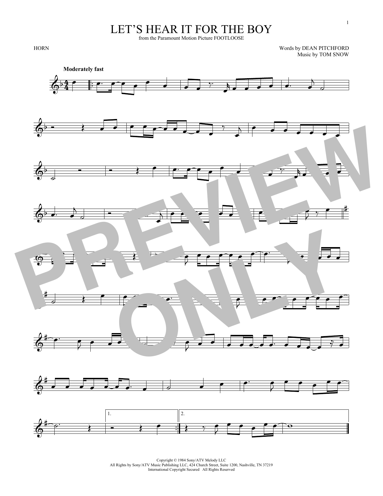 Let's Hear It For The Boy (French Horn Solo)