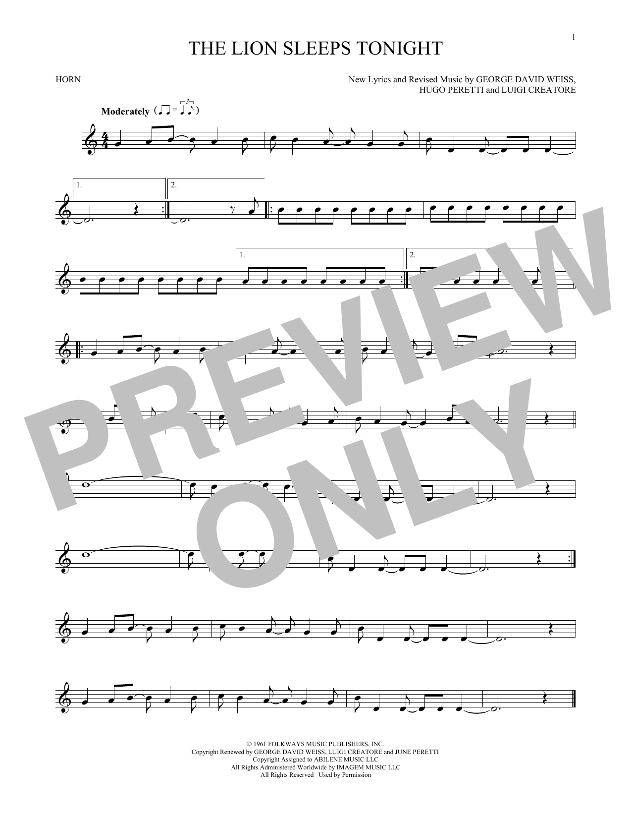 The Lion Sleeps Tonight (French Horn Solo)