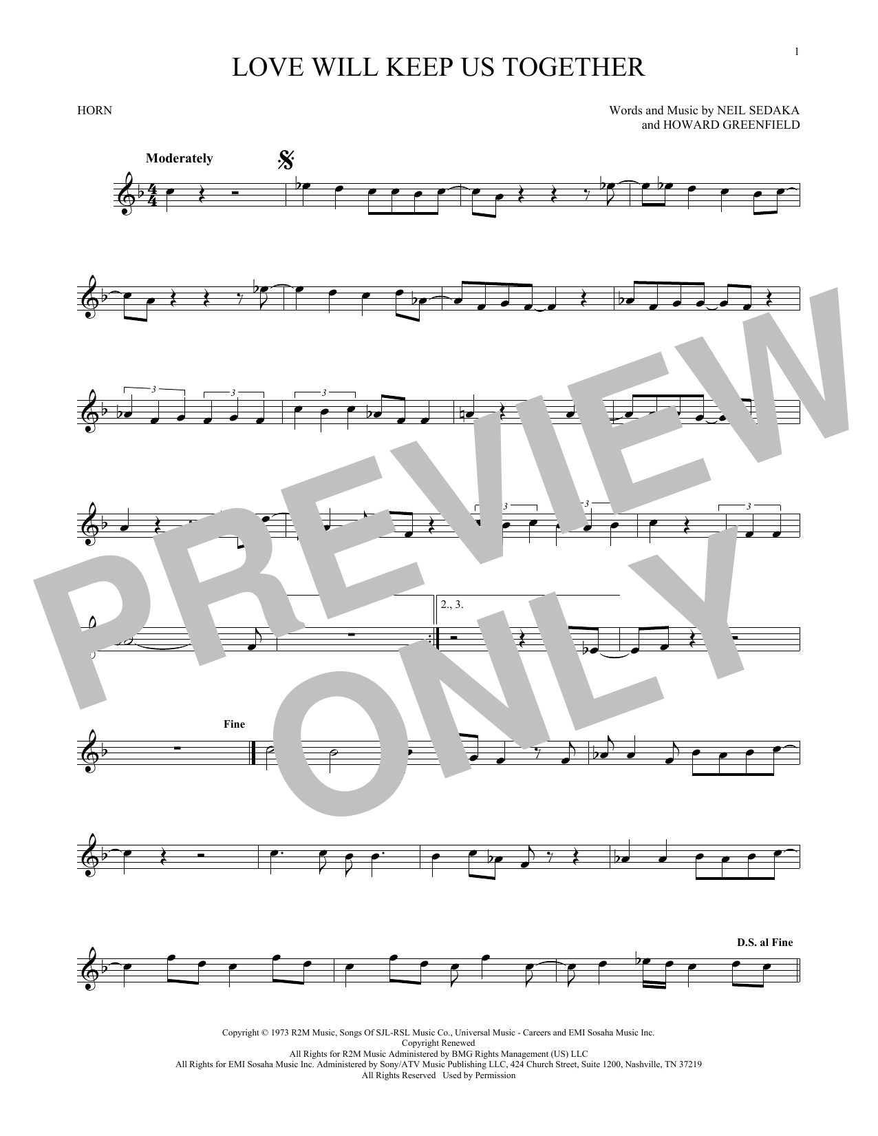 Love Will Keep Us Together (French Horn Solo)