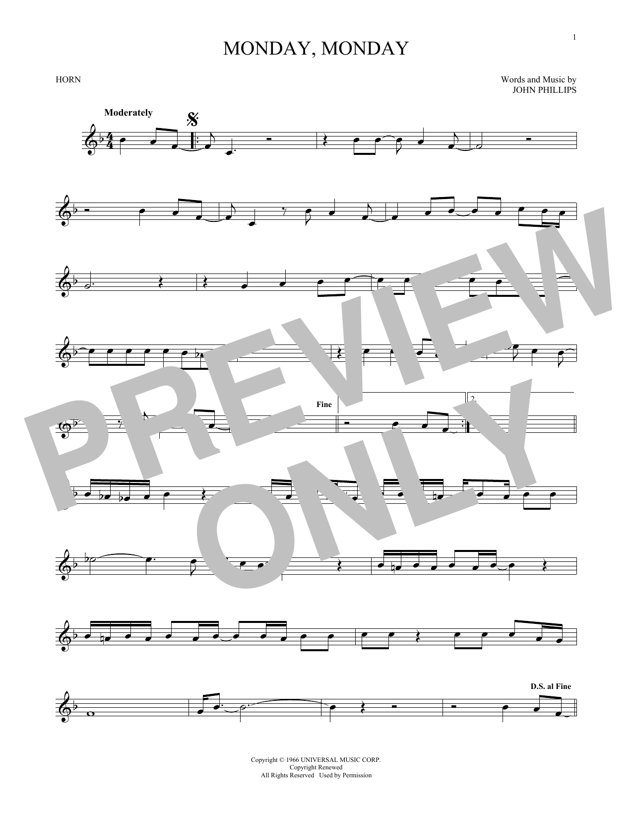 Monday, Monday (French Horn Solo)