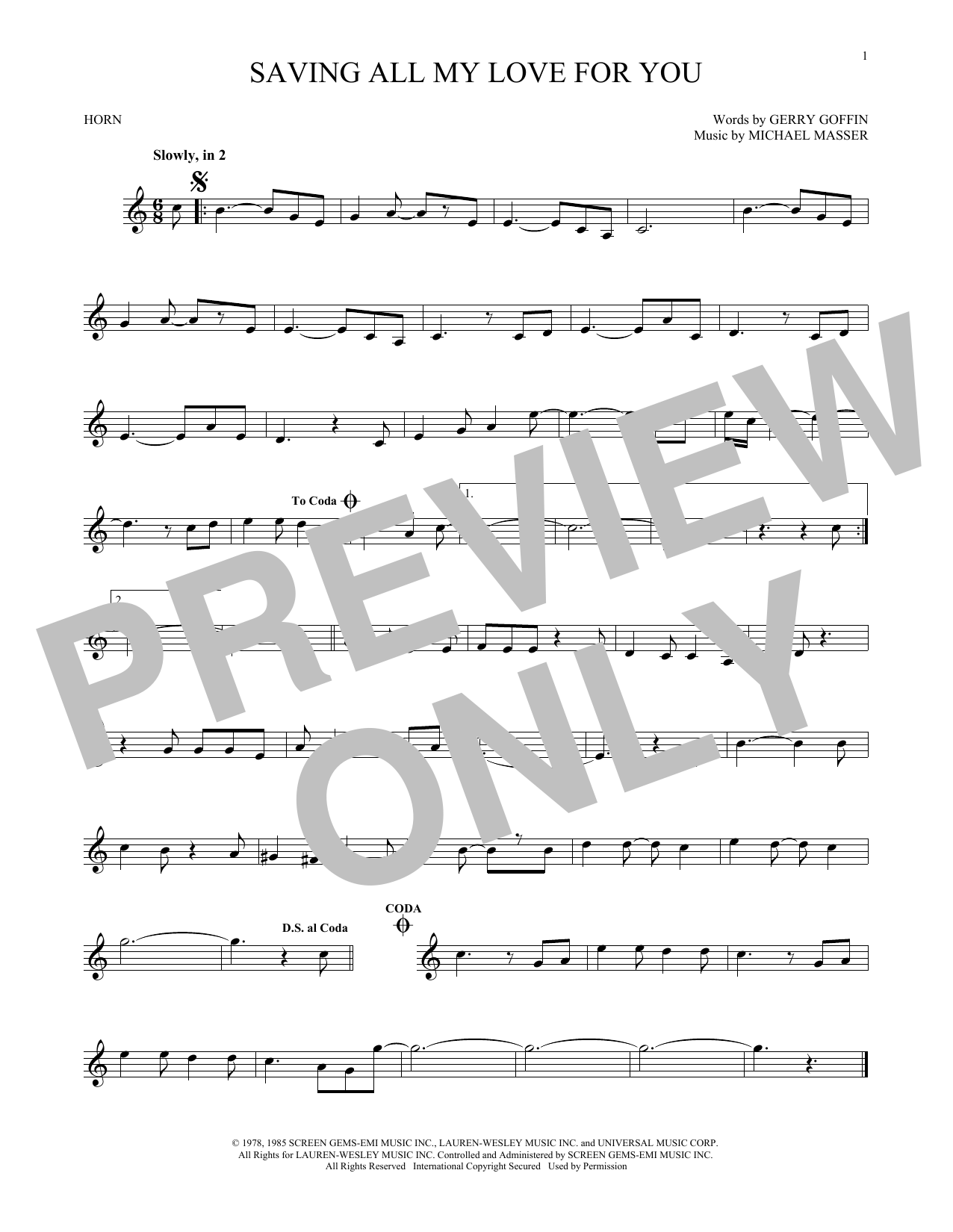 Saving All My Love For You (French Horn Solo)