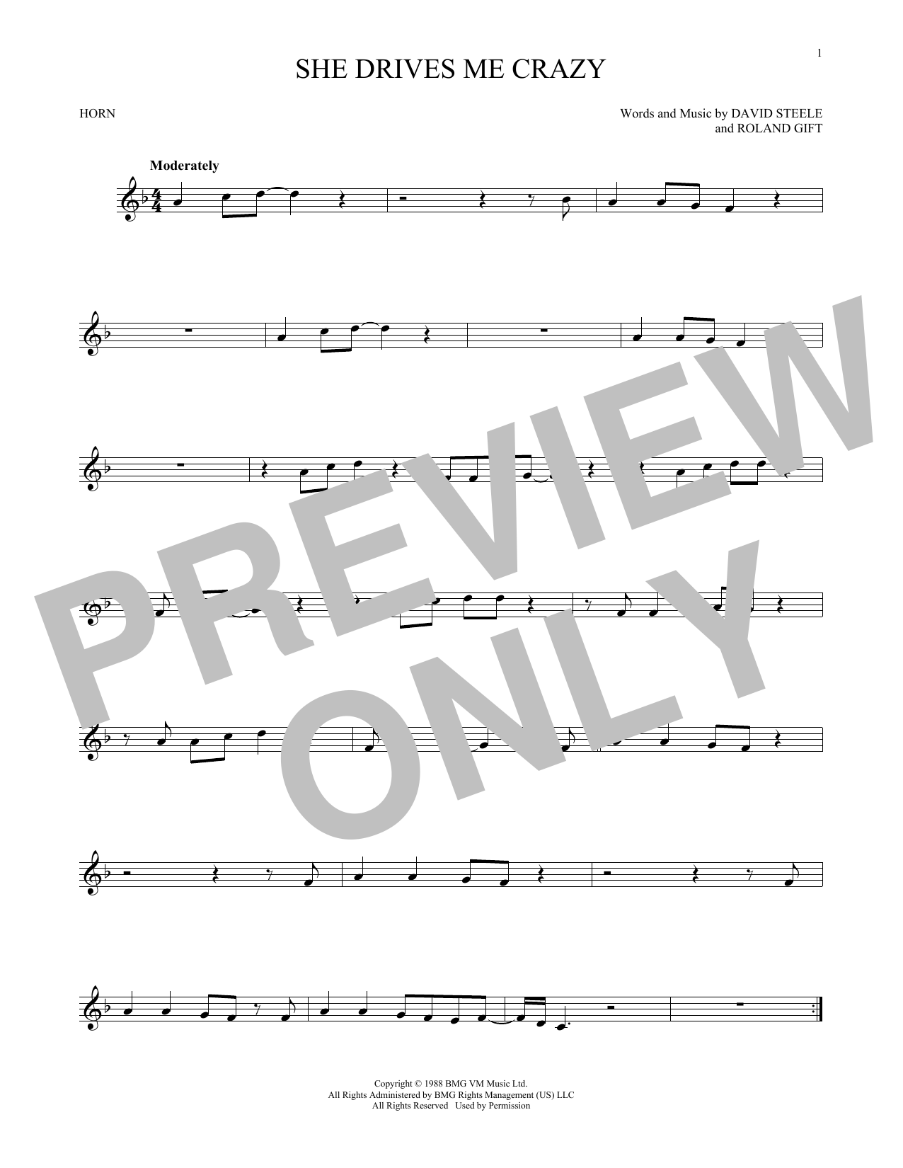 She Drives Me Crazy (French Horn Solo)