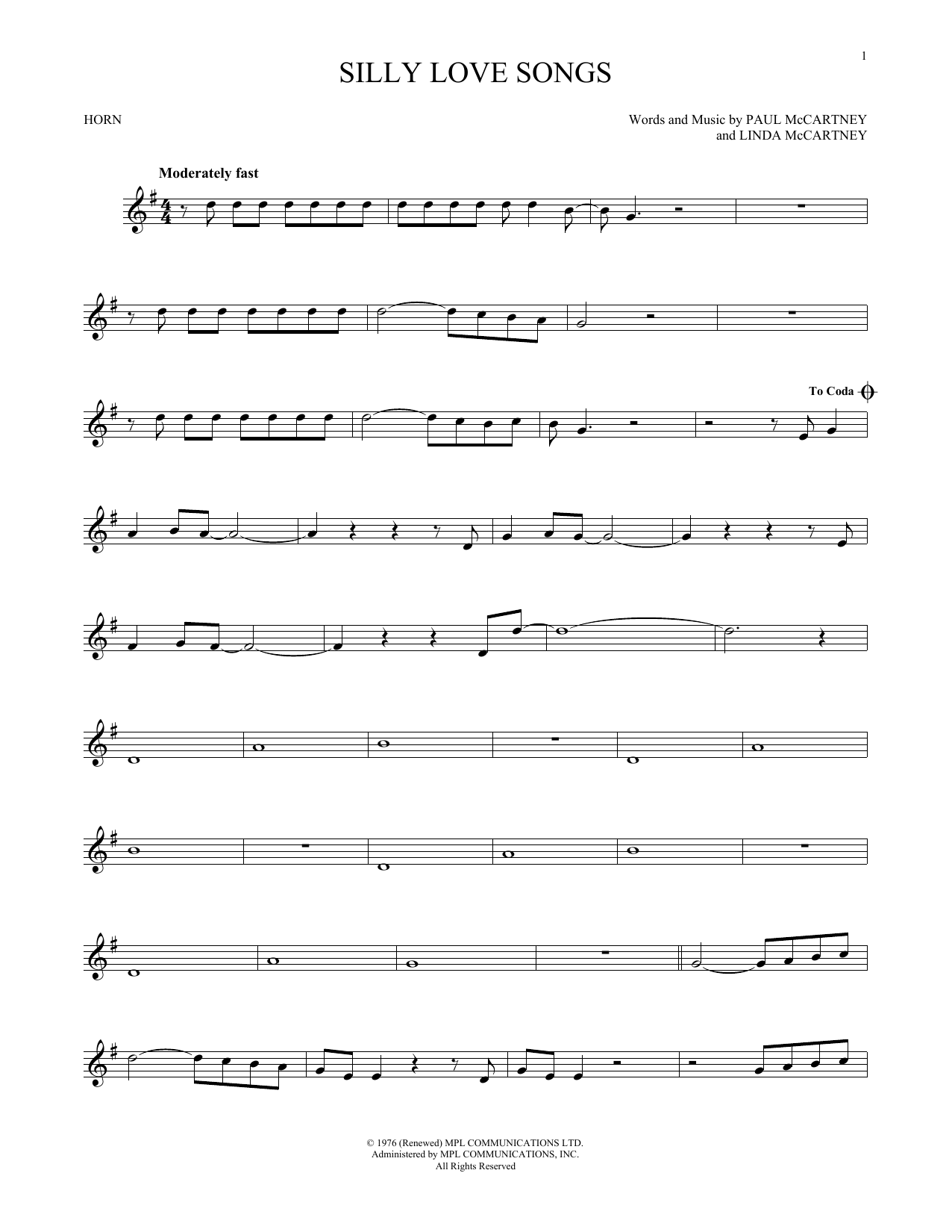 Silly Love Songs (French Horn Solo)
