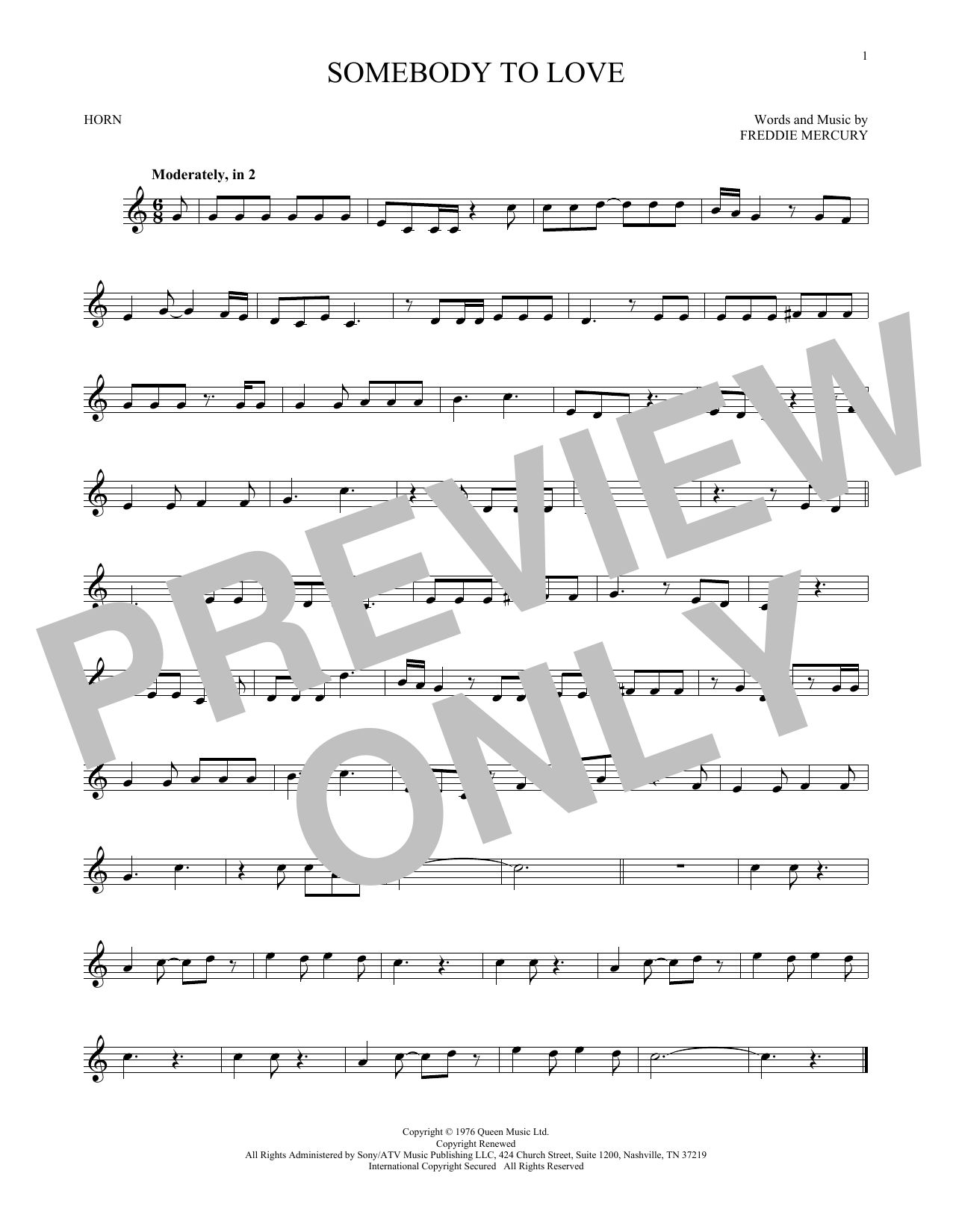 Somebody To Love (French Horn)