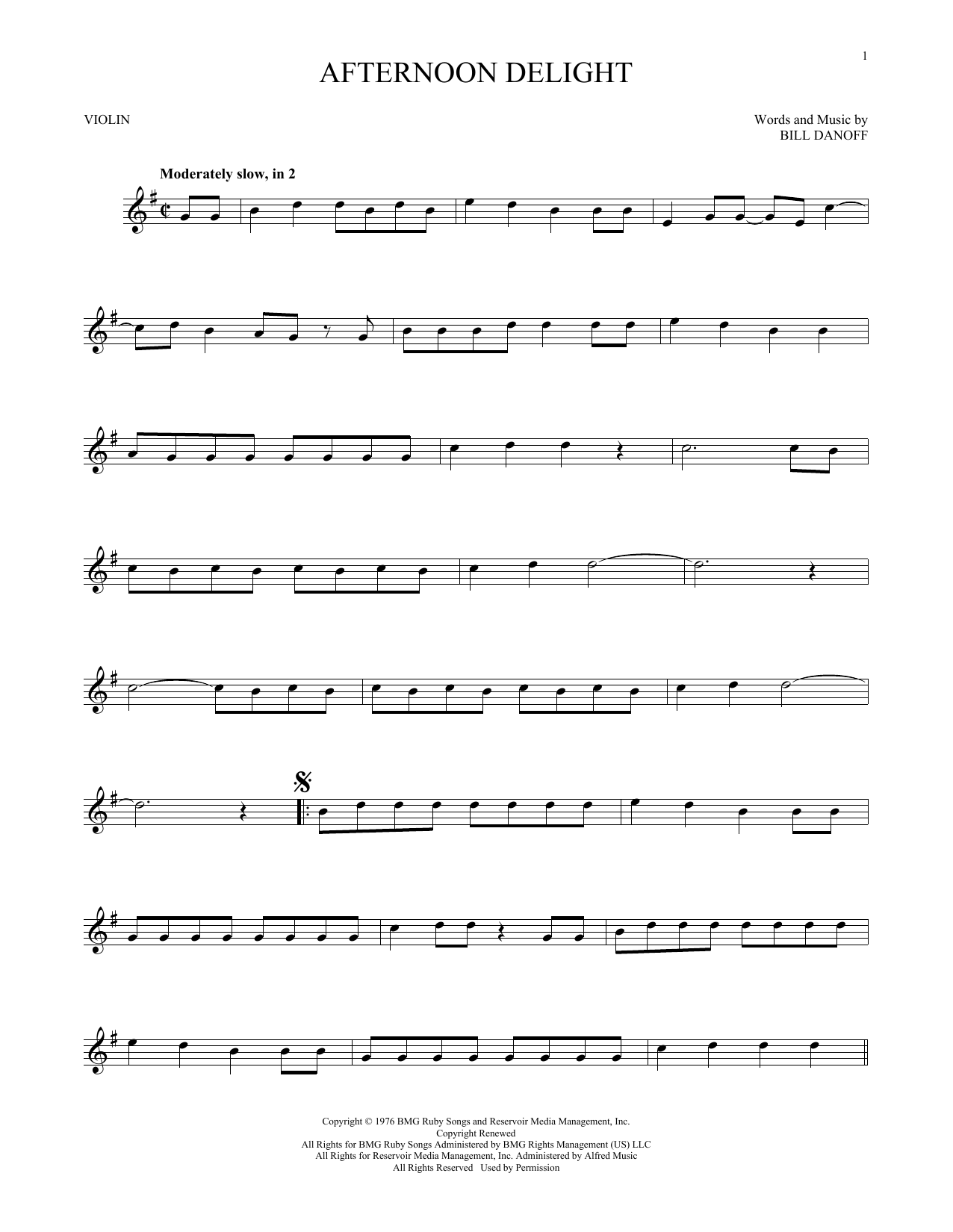 Afternoon Delight (Violin Solo)