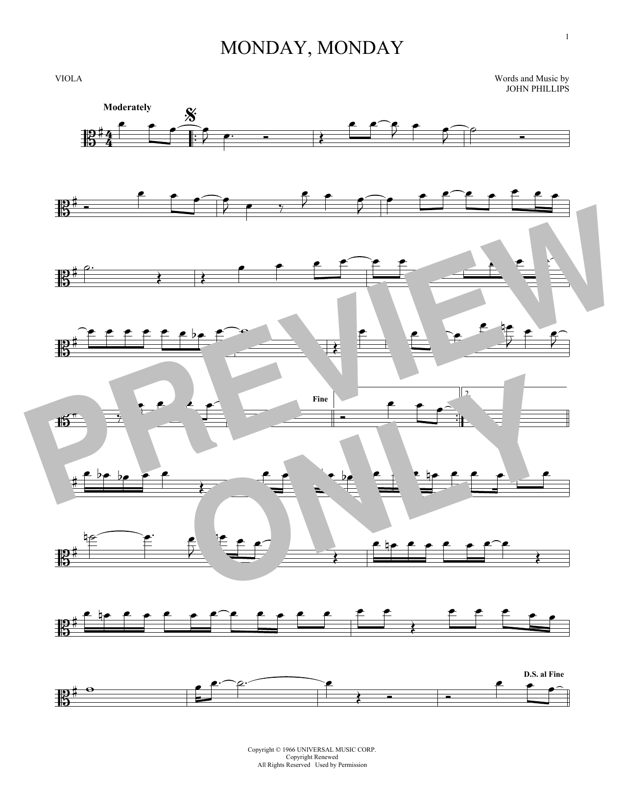 Monday, Monday (Viola Solo)