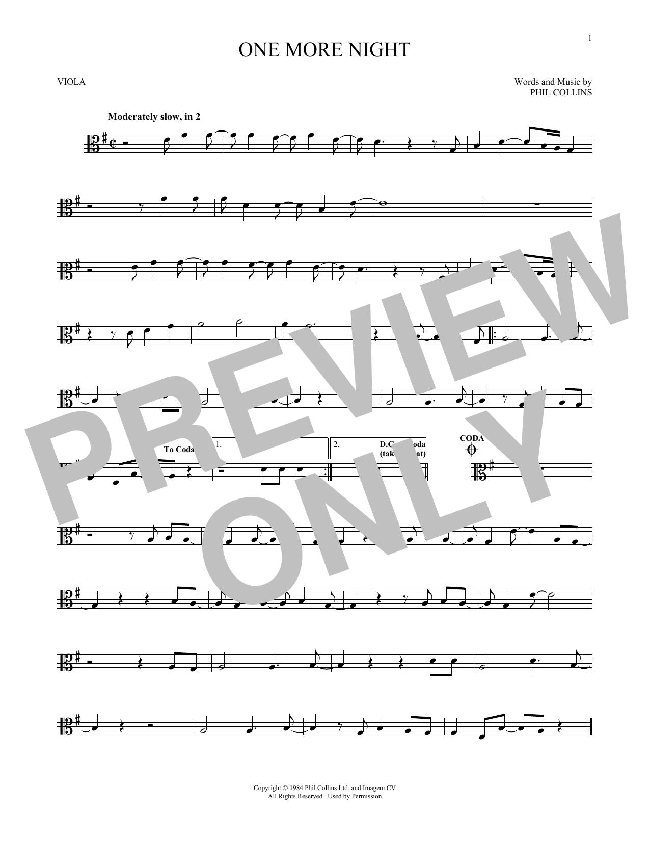 One More Night (Viola Solo)